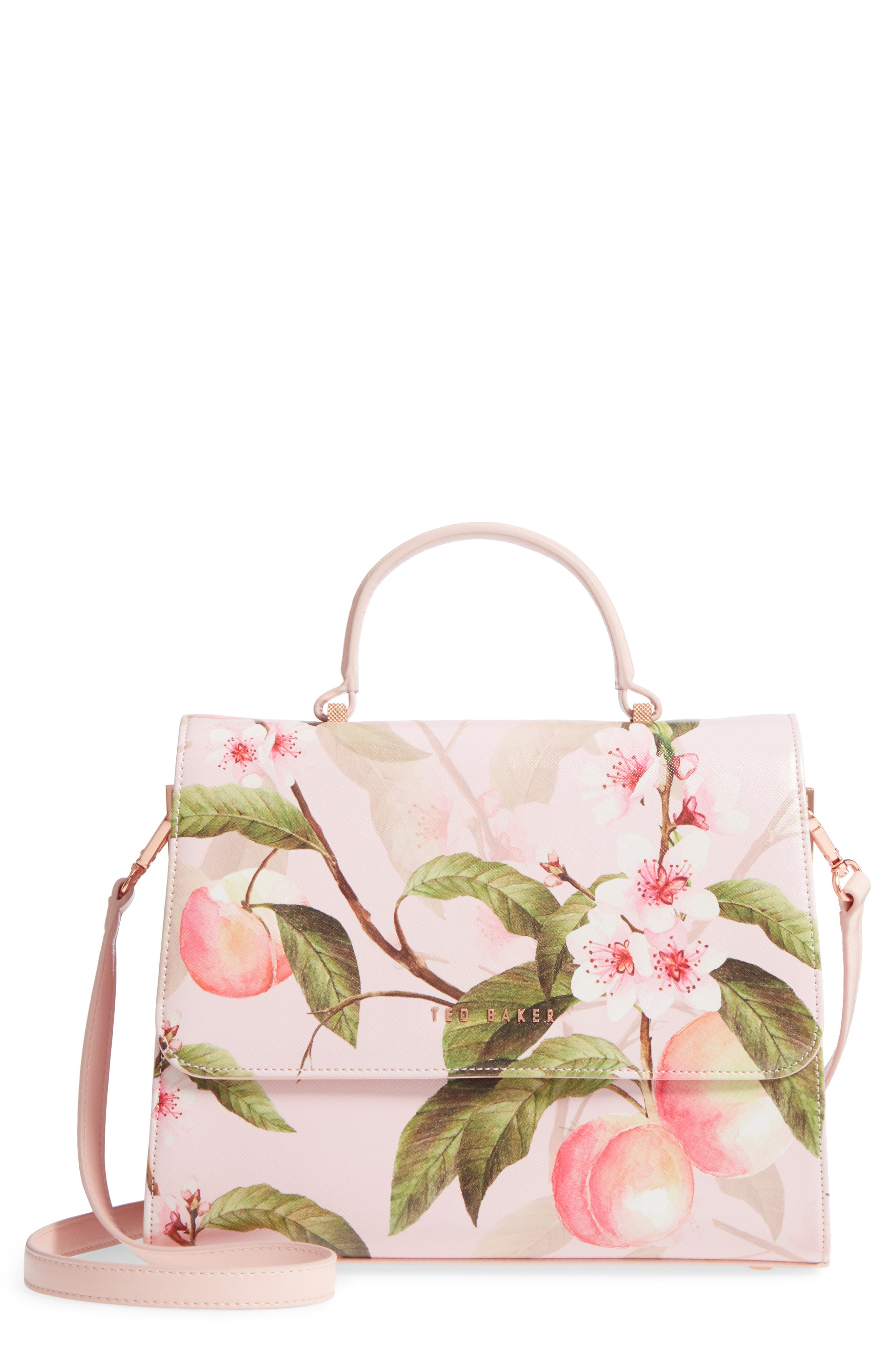 Alternate Image 1 Selected - Ted Baker London Dipelta Peach Faux Leather Satchel