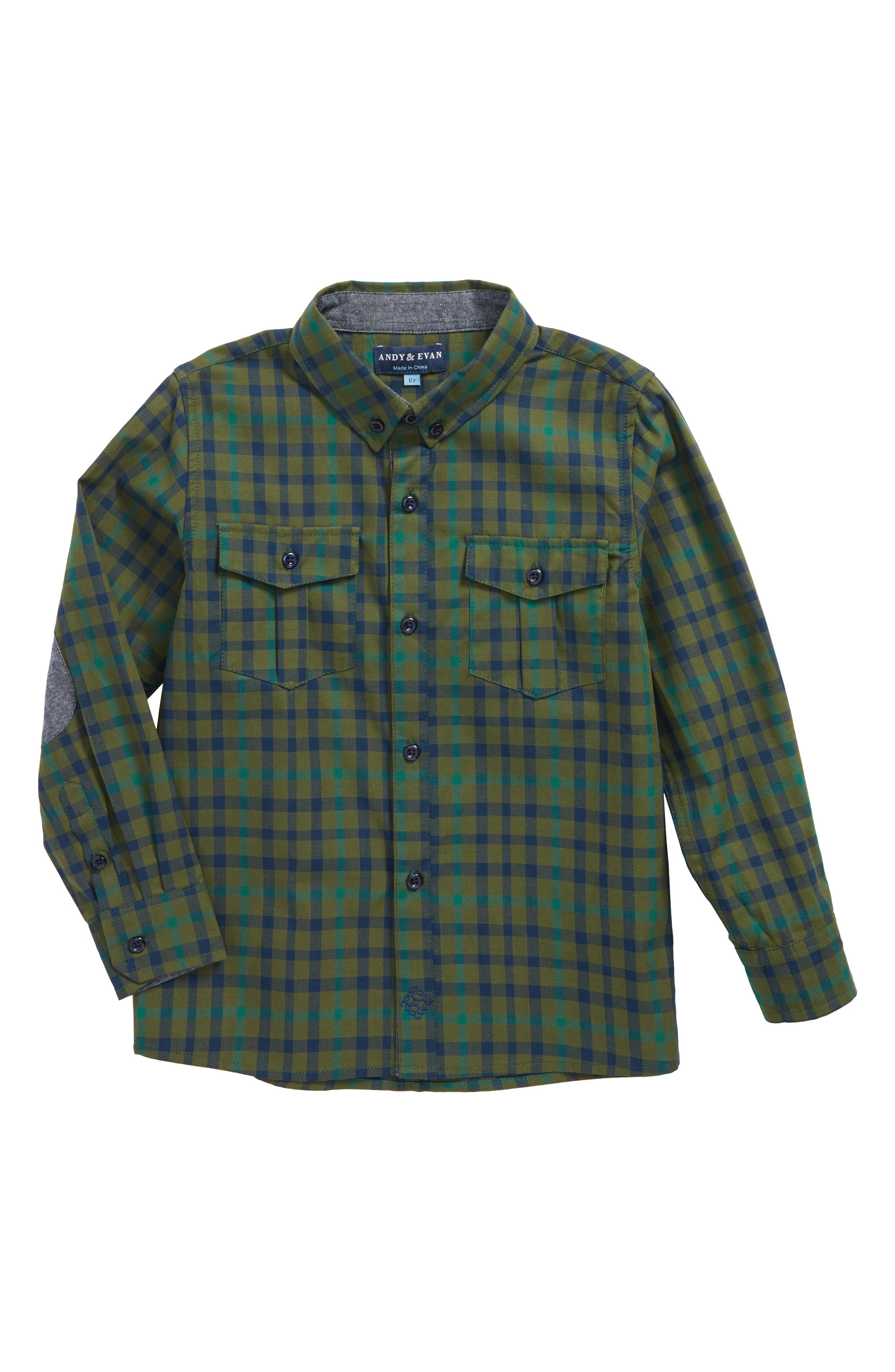Check Flannel Shirt,                         Main,                         color, Olive