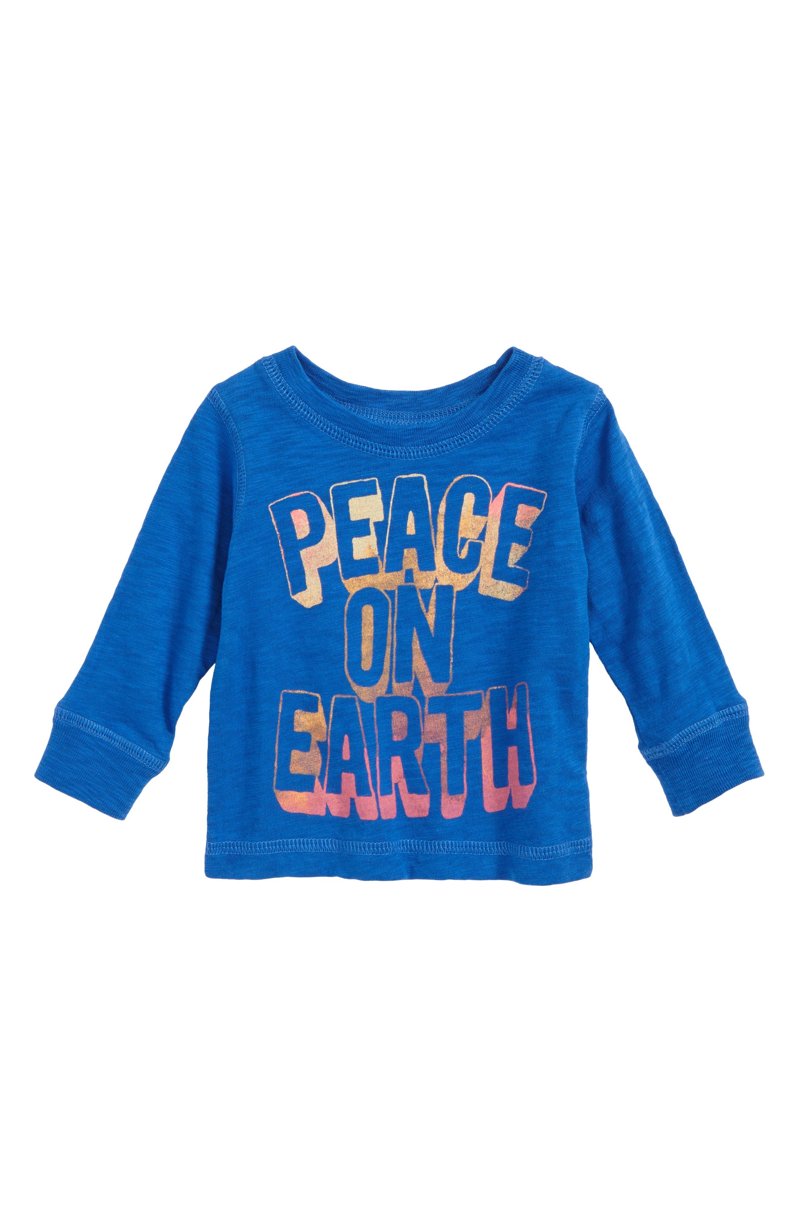 Peek Peace on Earth T-Shirt,                             Main thumbnail 1, color,                             Navy