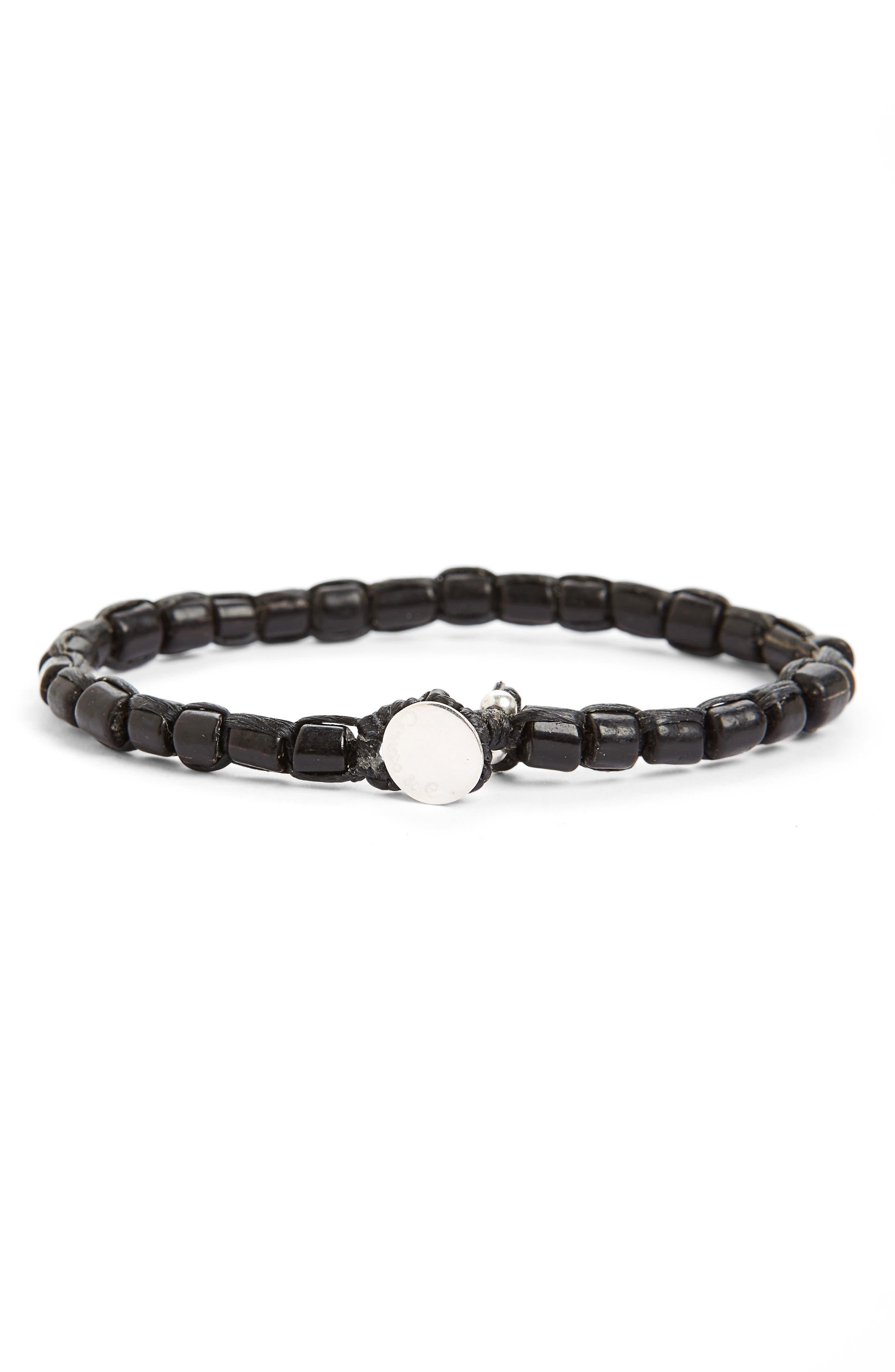 Glass Bead Bracelet,                         Main,                         color, Black