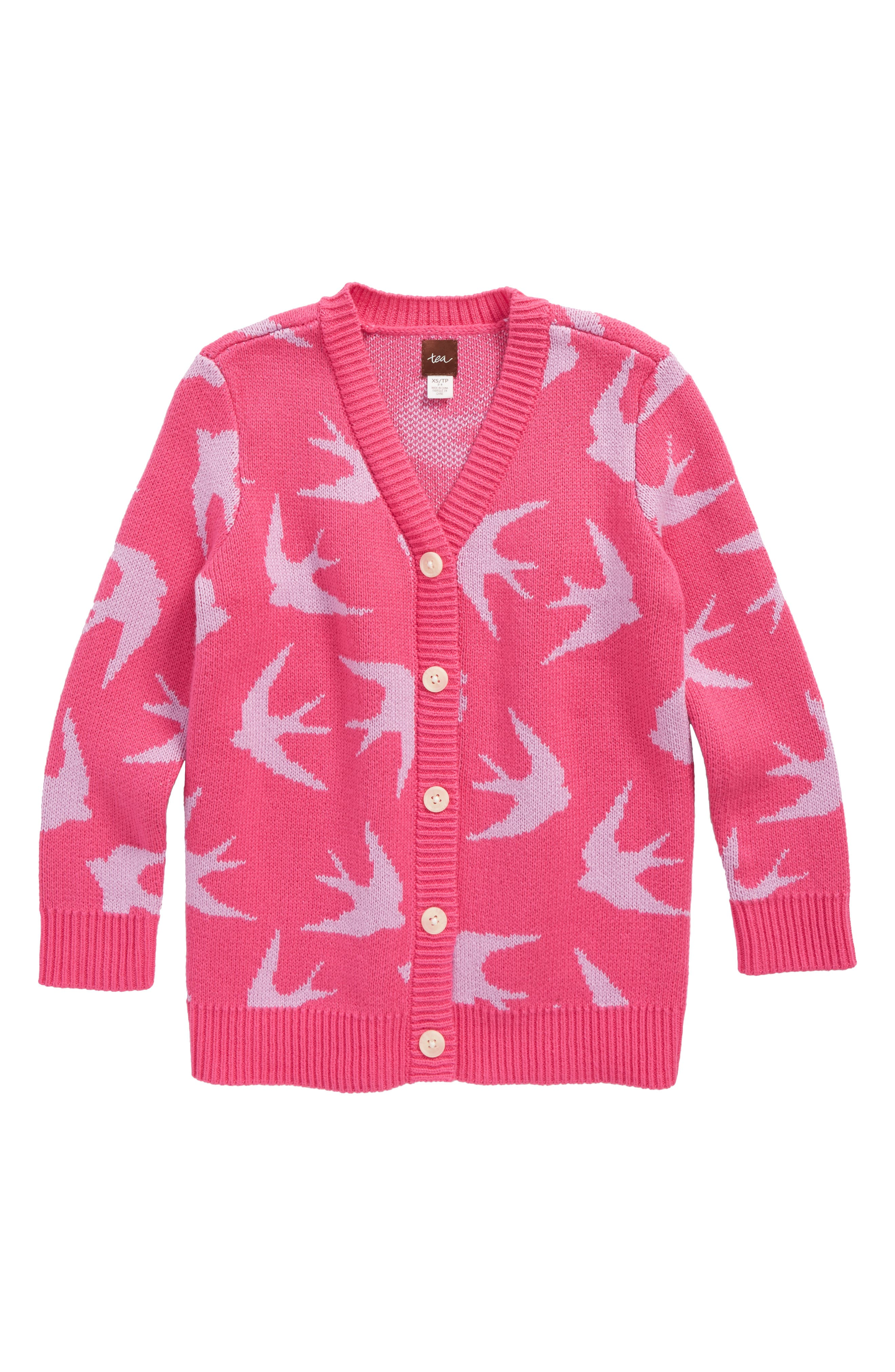 Main Image - Tea Collection Snow Bunting Intarsia Knit Cardigan (Toddler Girls, Little Girls & Big Girls)