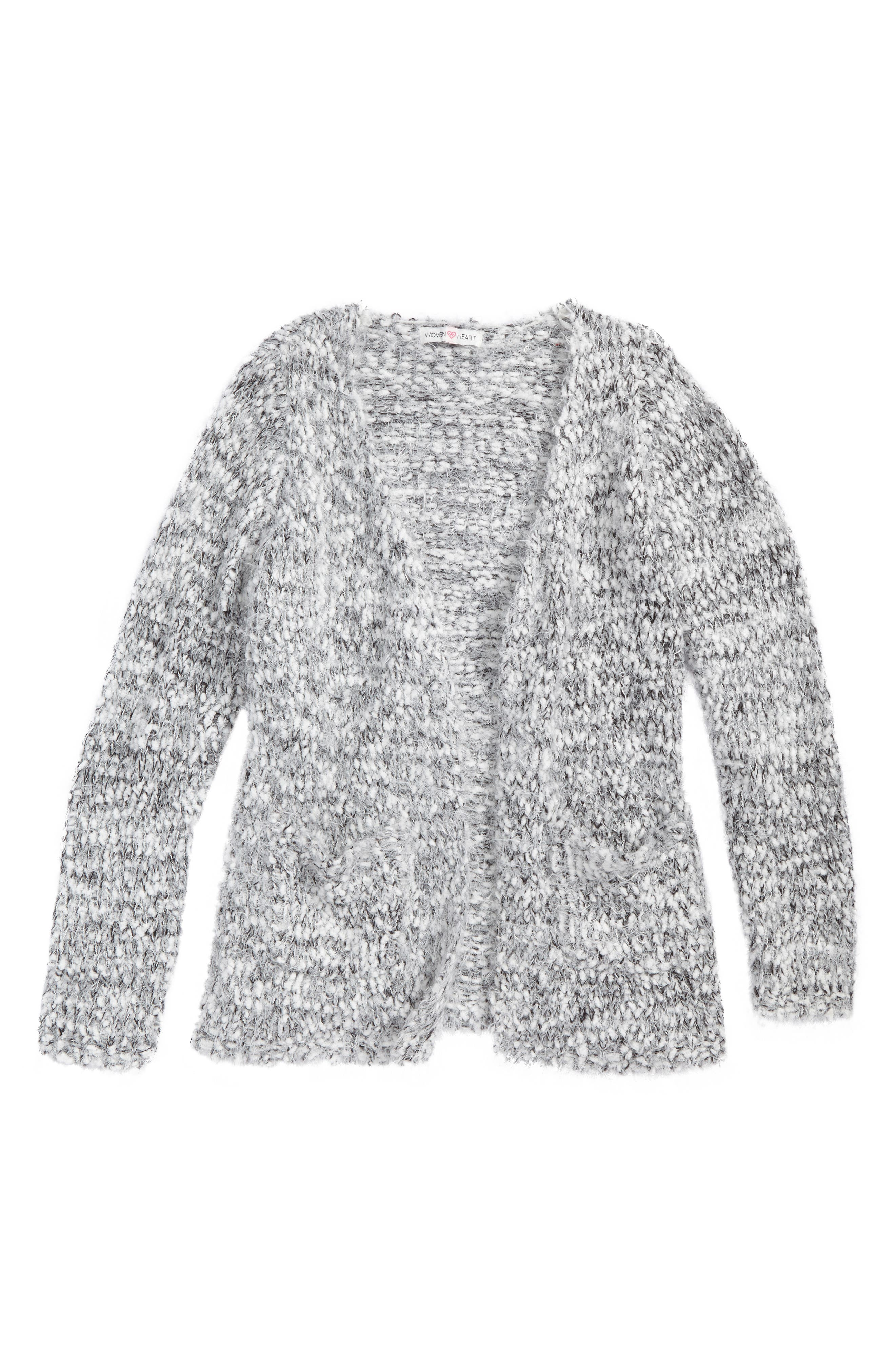 Woven Heart Open Stich Knit Cardigan (Big Girls)