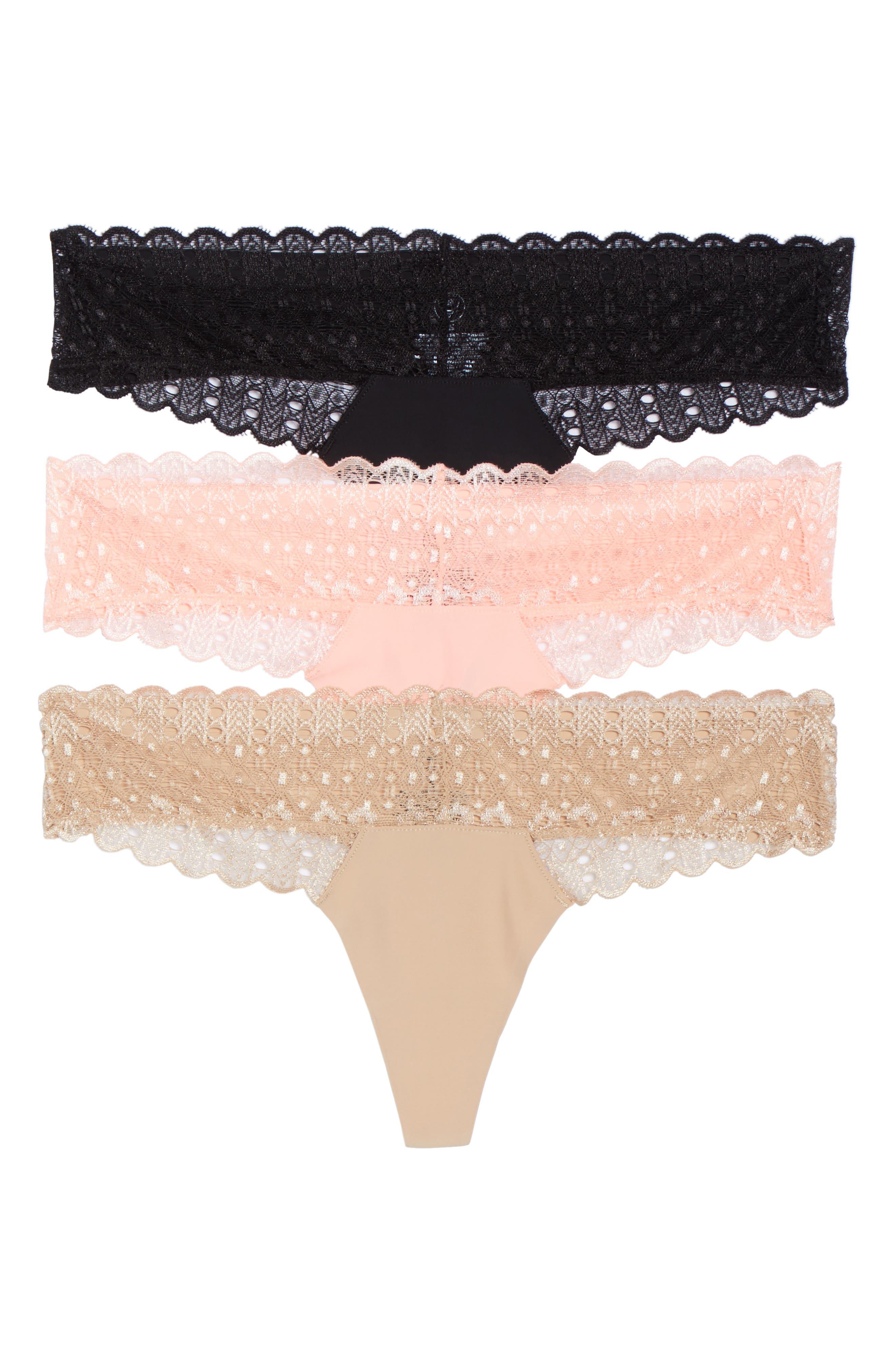 Main Image - Honeydew 3-Pack Microfiber & Lace Thongs