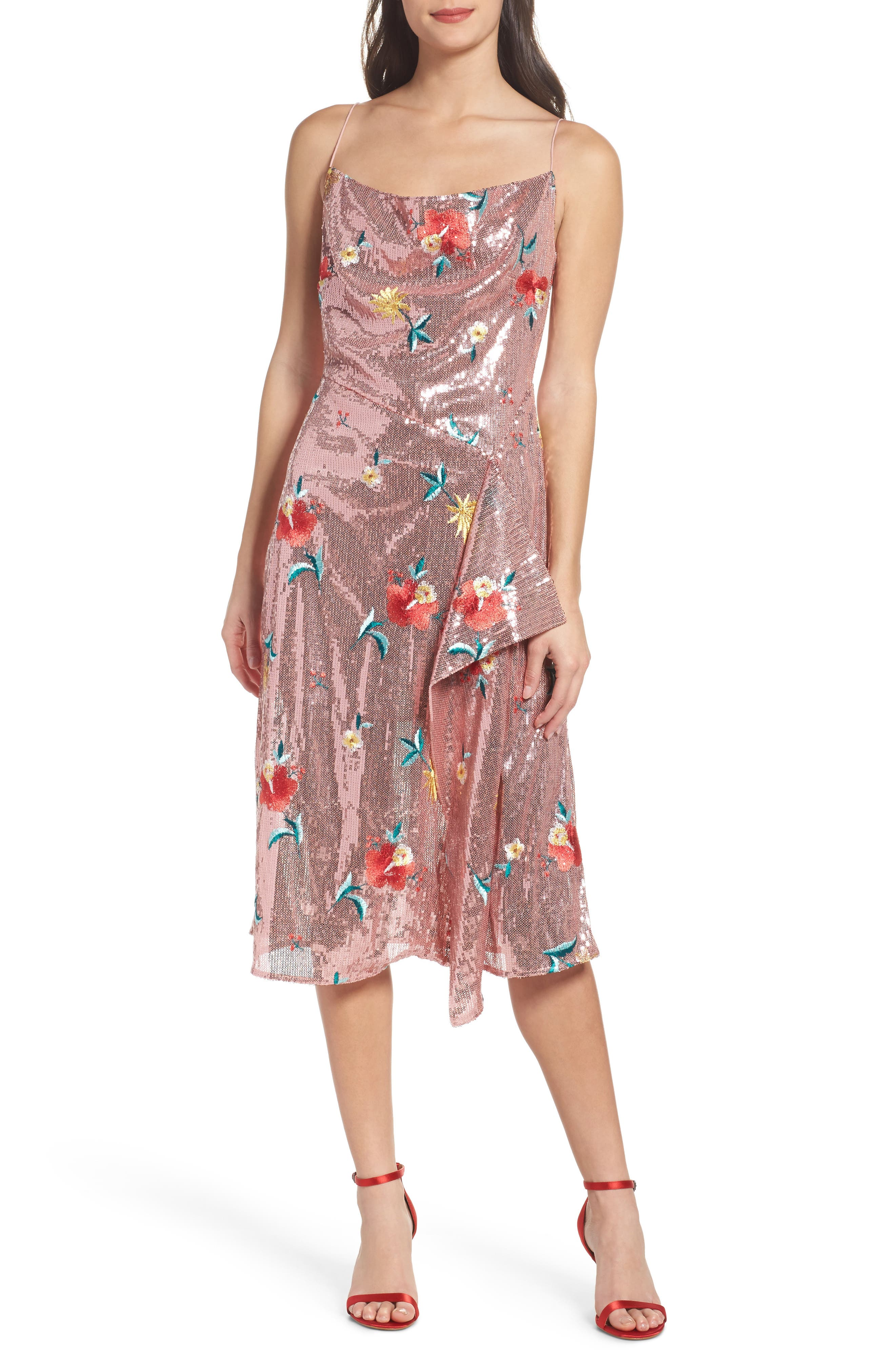 Fullproof Embroidered Sequin Dress,                         Main,                         color, Rose