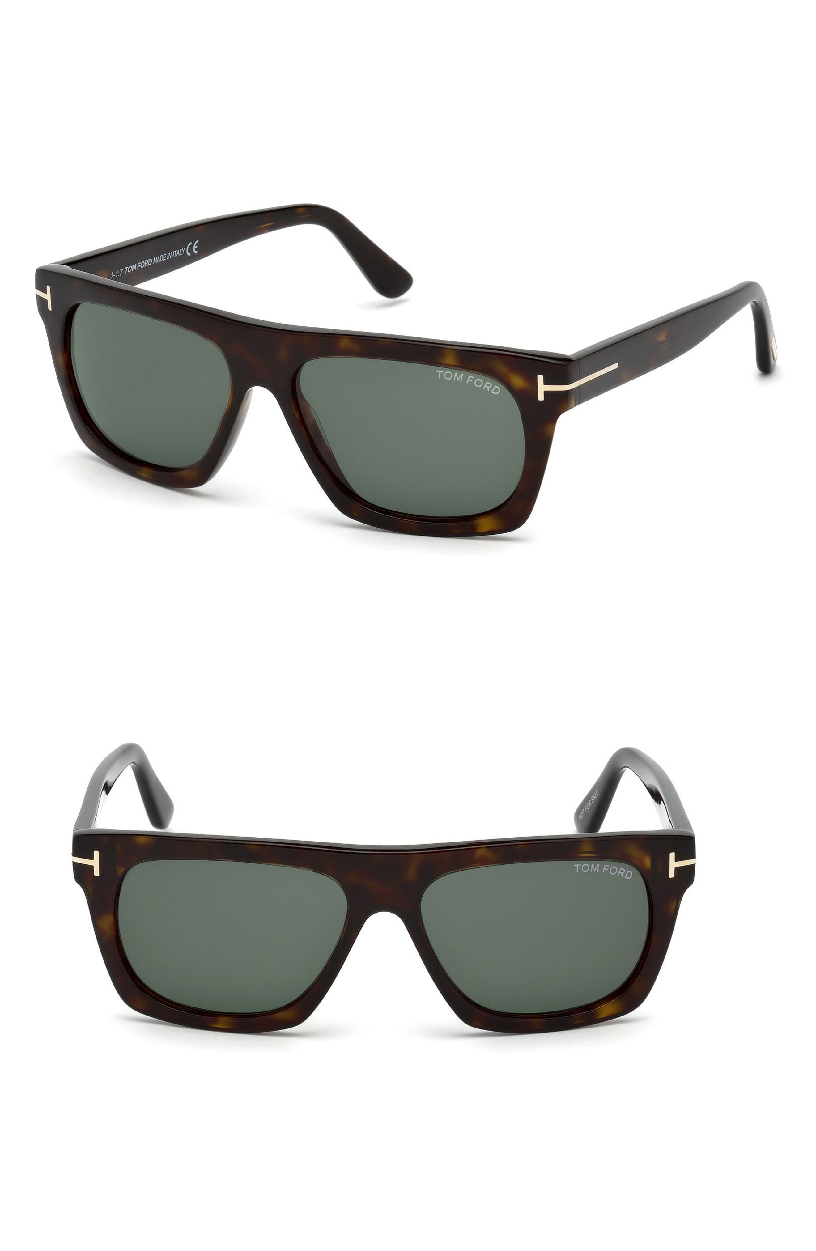 Ernesto 55mm Sunglasses,                         Main,                         color, Dark Havana/ Green Lenses