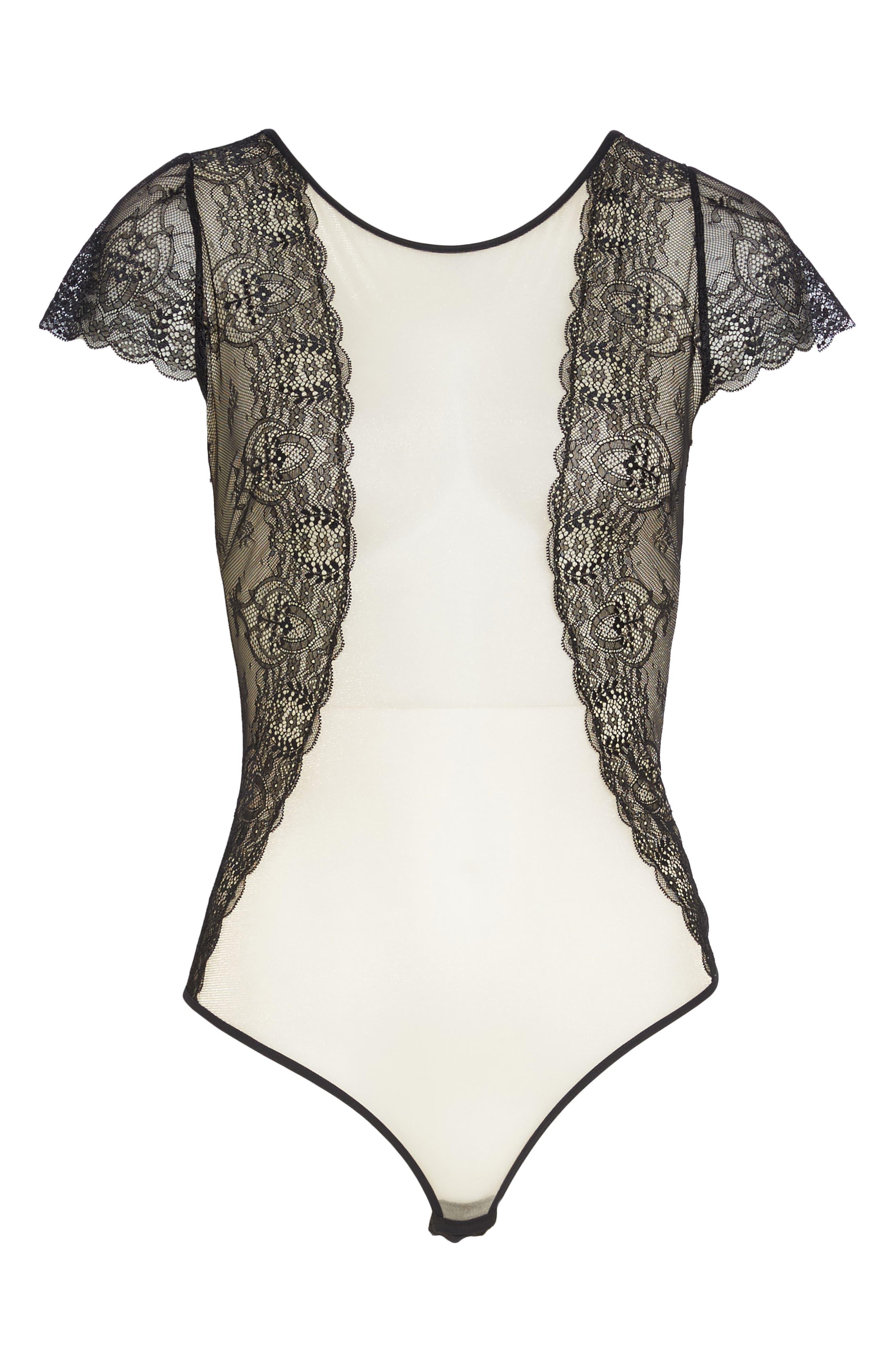 L'Antichambre Mesh & Lace Thong Bodysuit,                             Alternate thumbnail 4, color,                             Black / Nude