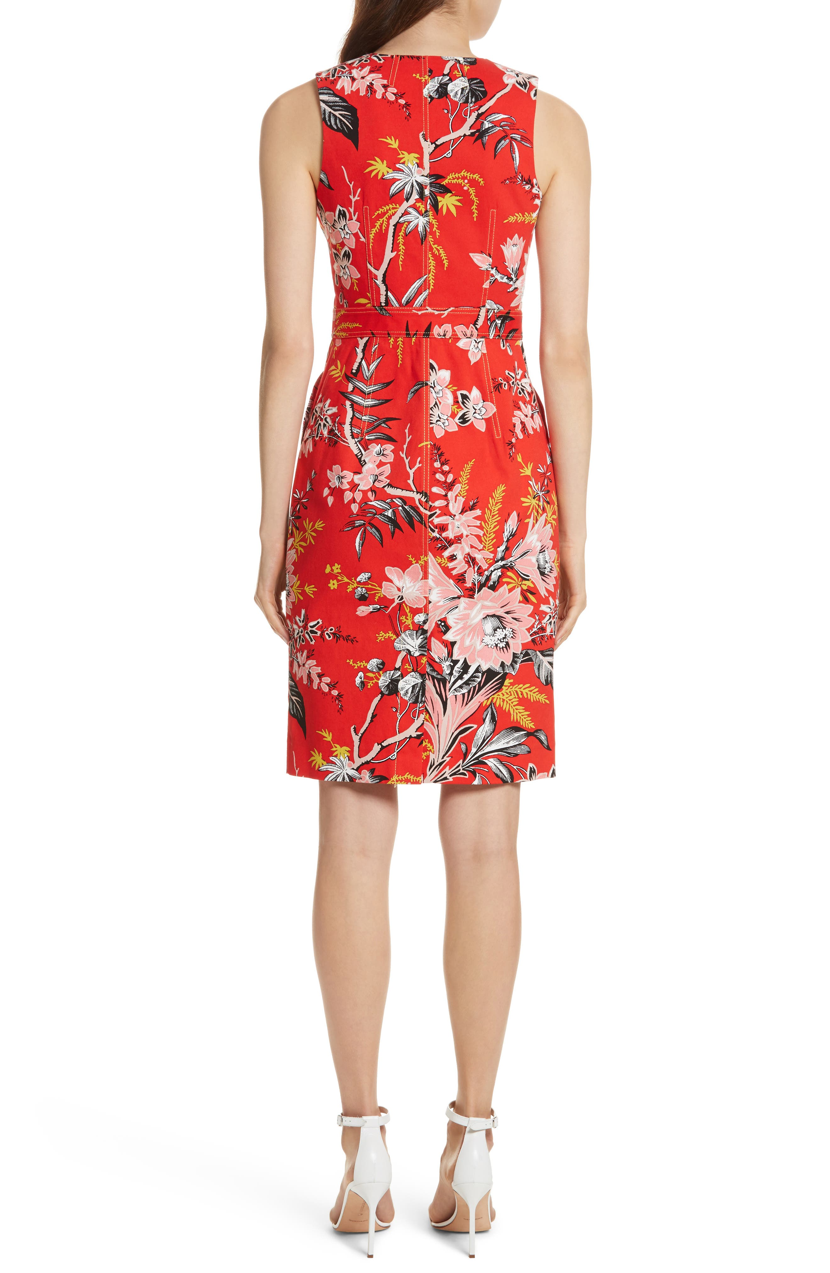 Diane von Furstenberg Floral Zip Front Stretch Cotton Sheath Dress,                             Alternate thumbnail 2, color,                             Avalon Poppy