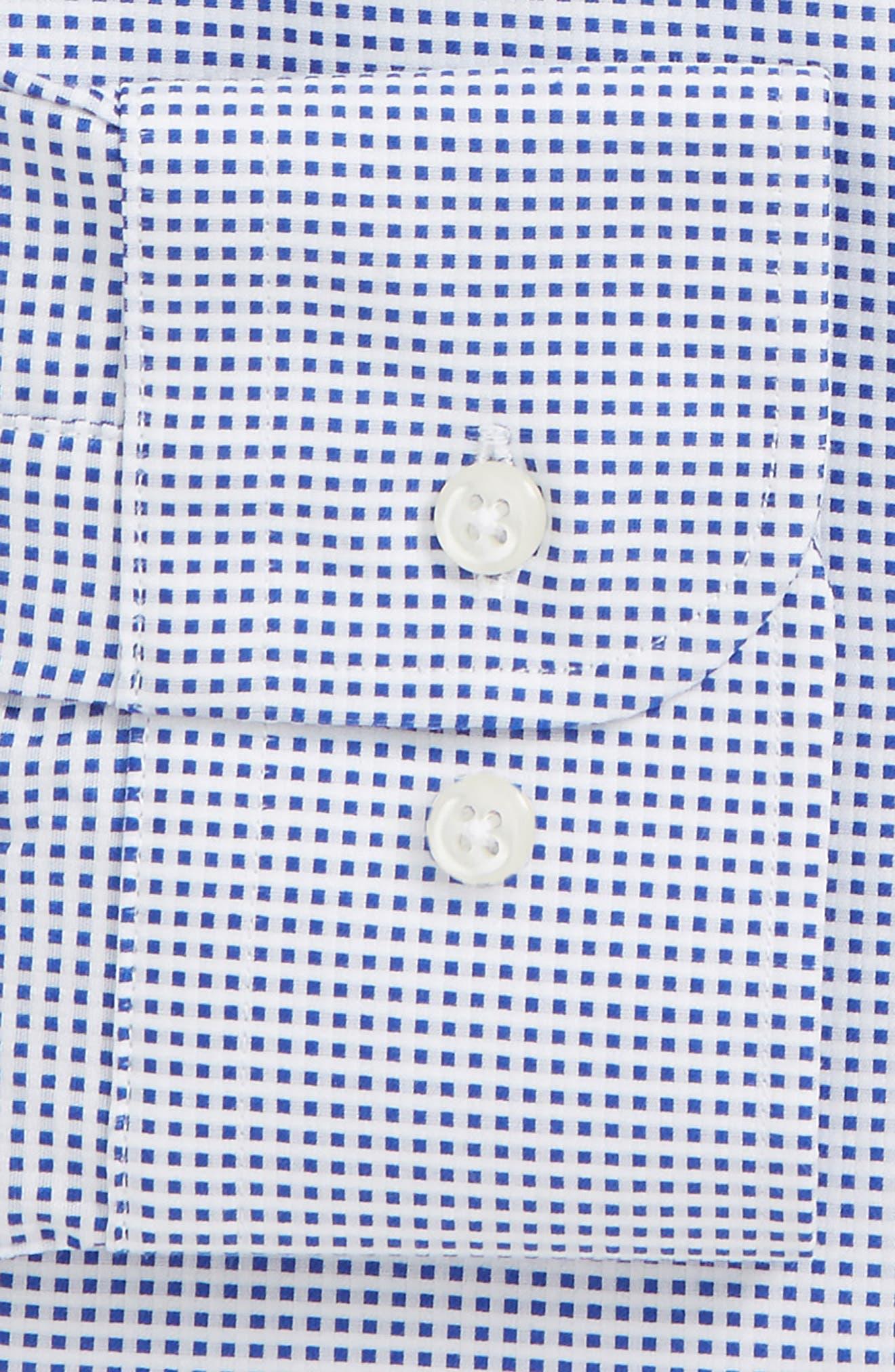 Trim Fit Microcheck Dress Shirt,                             Alternate thumbnail 5, color,                             Blue Surf