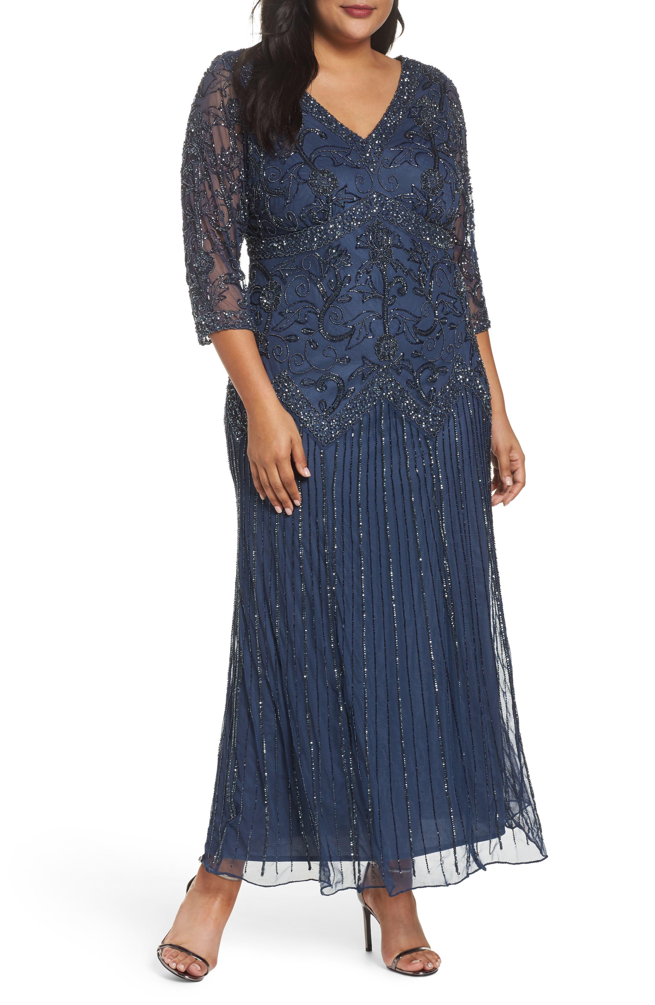 Embellished Double V-Neck Midi Dress,                         Main,                         color, Blue