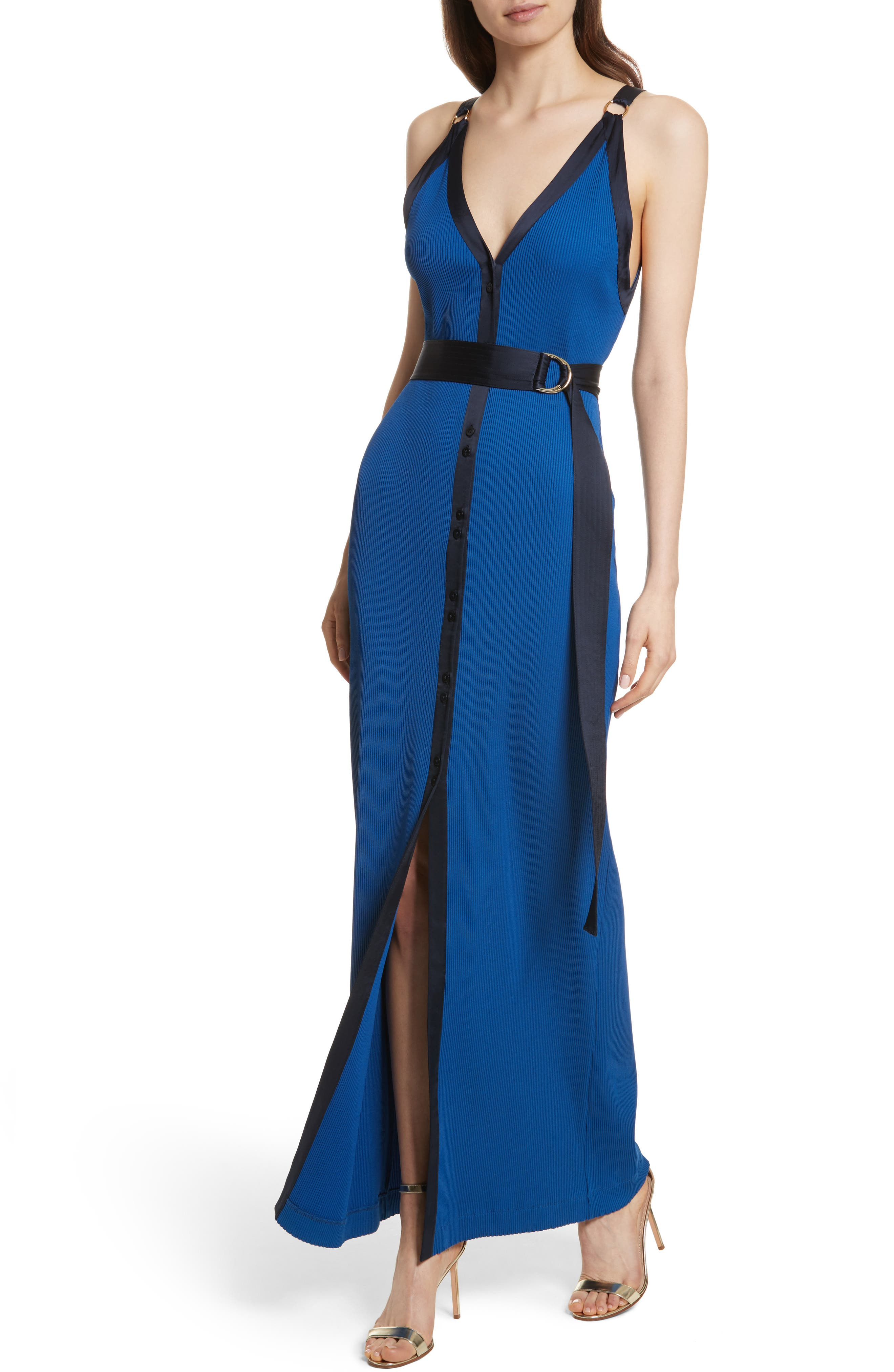 Diane von Furstenberg Ribbed Jersey Maxi Dress,                             Alternate thumbnail 4, color,                             Cove/ Alexander Navy