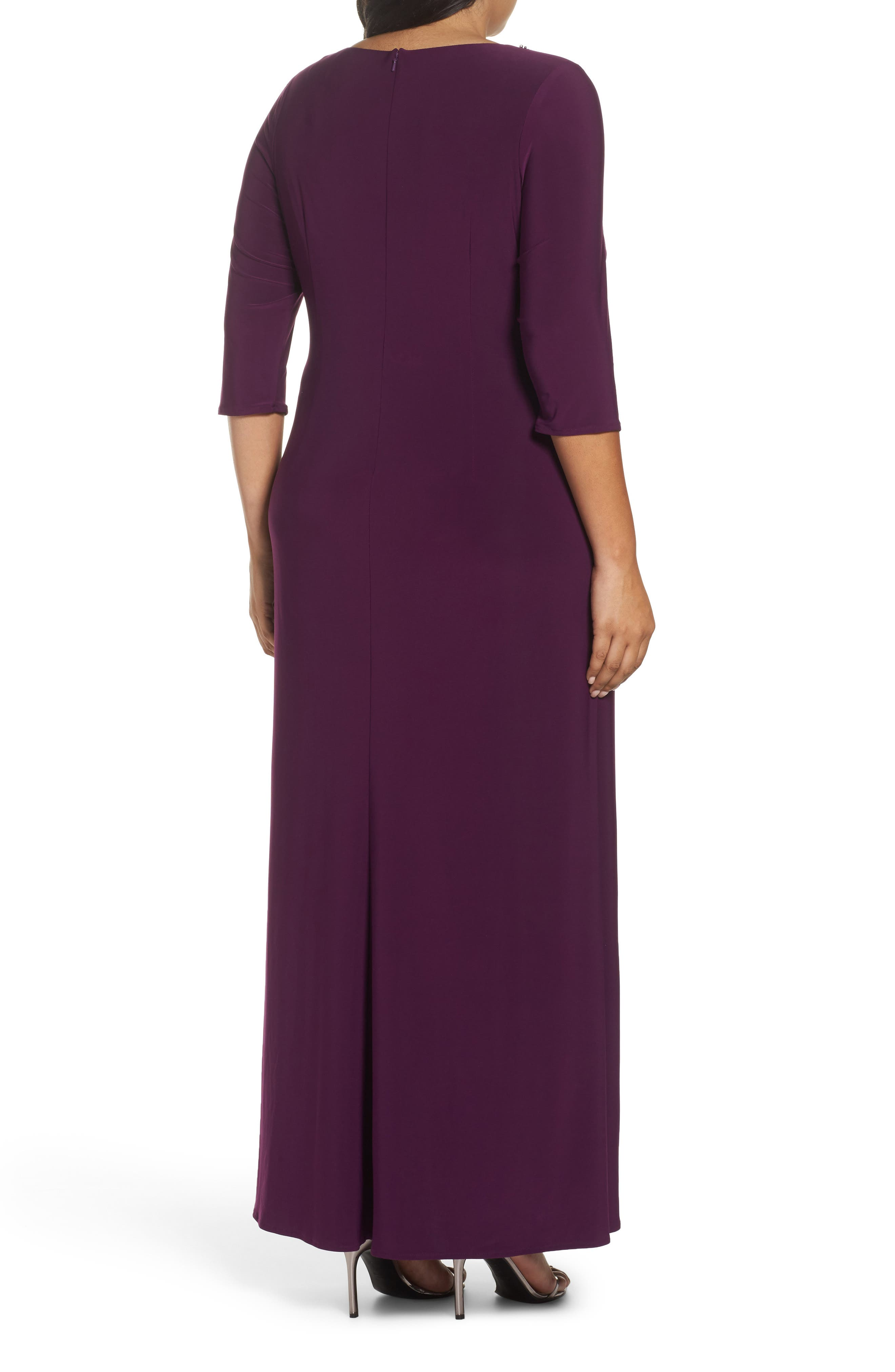 Alternate Image 2  - Alex Evenings Embellished Knot Front A-Line Gown (Plus Size)
