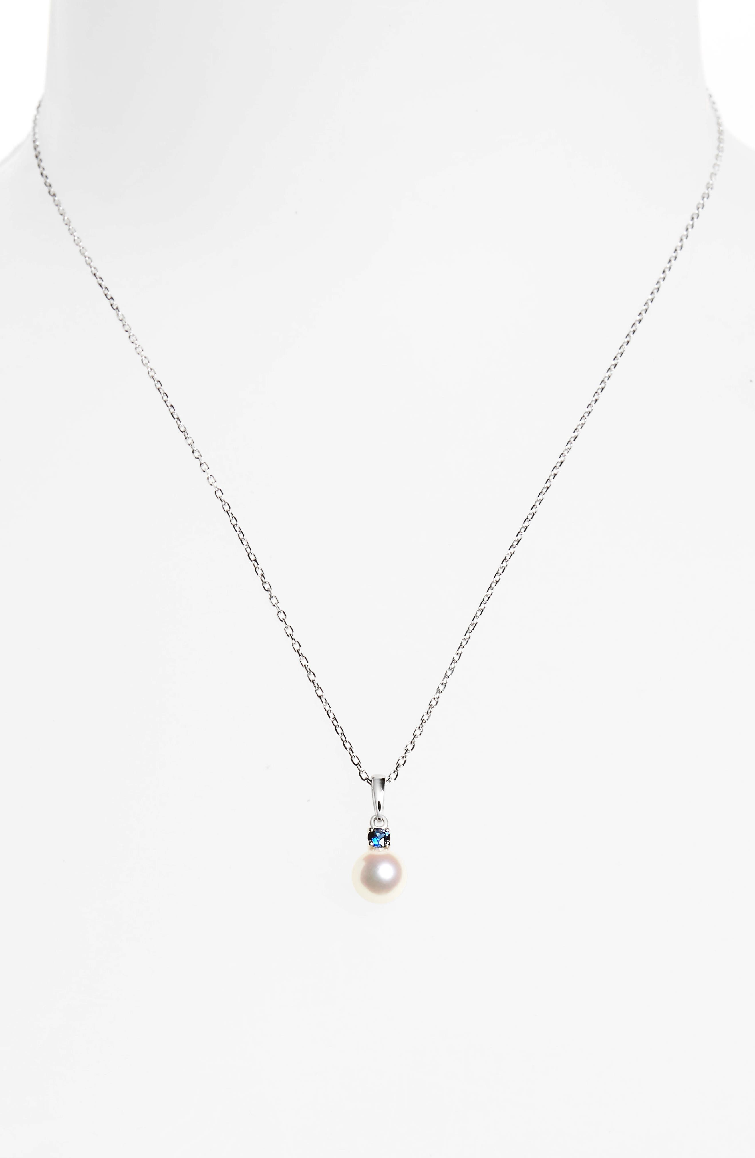 Akoya Cultured Pearl & Sapphire Pendant Necklace,                             Alternate thumbnail 2, color,                             White Gold