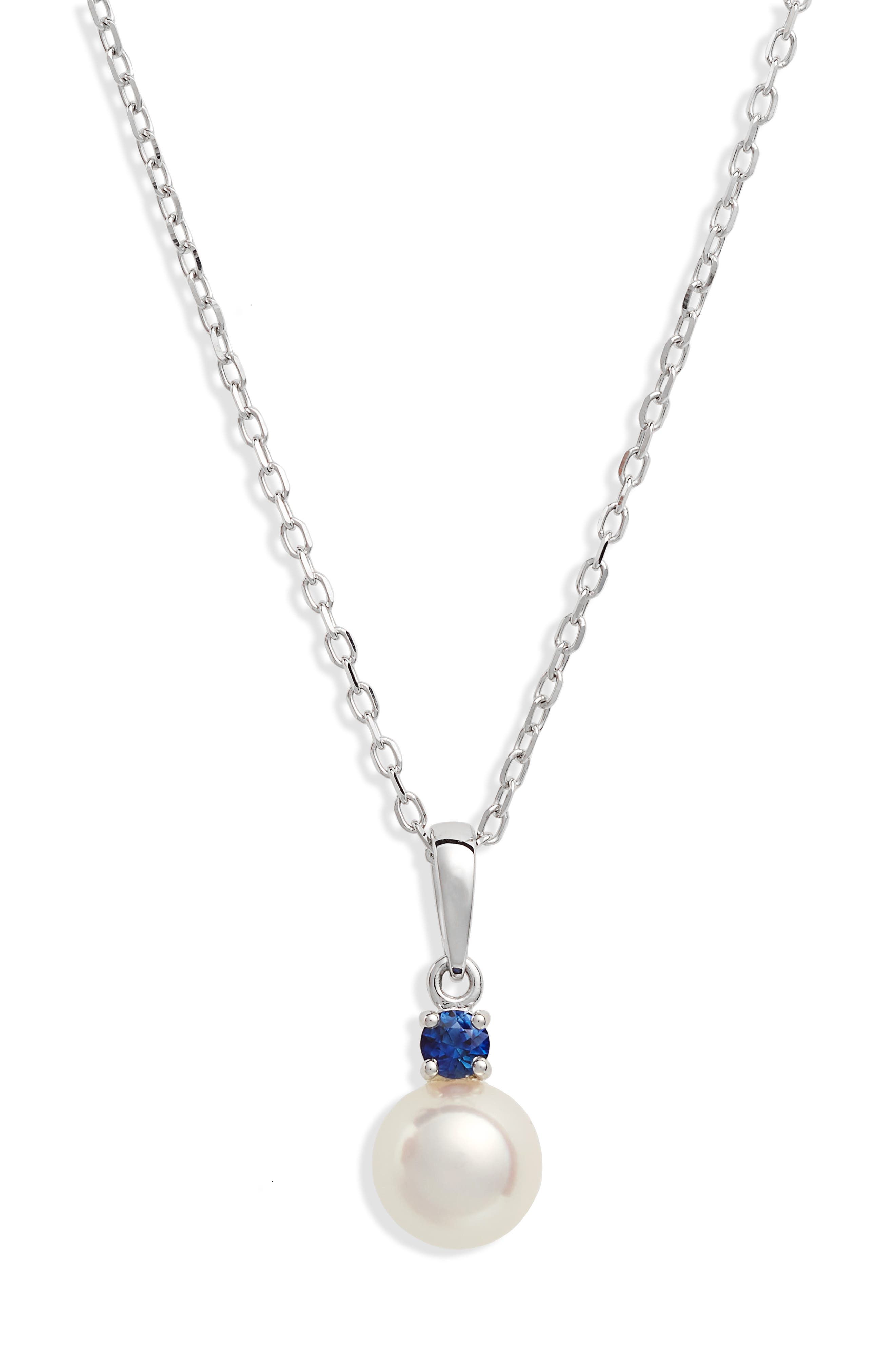 Akoya Cultured Pearl & Sapphire Pendant Necklace,                             Main thumbnail 1, color,                             White Gold
