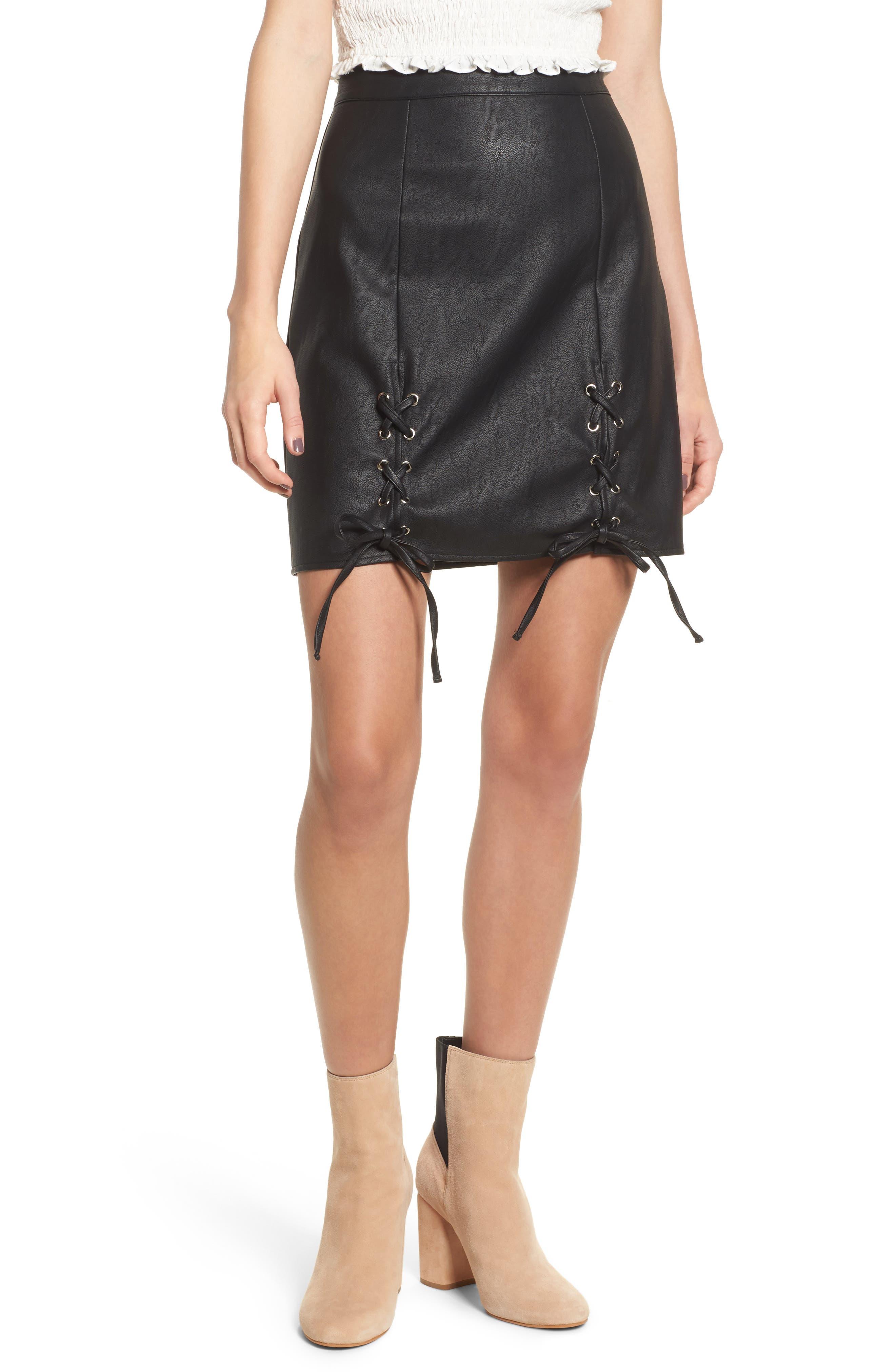 Dakota Lace Up Faux Leather Skirt,                             Main thumbnail 1, color,                             Black