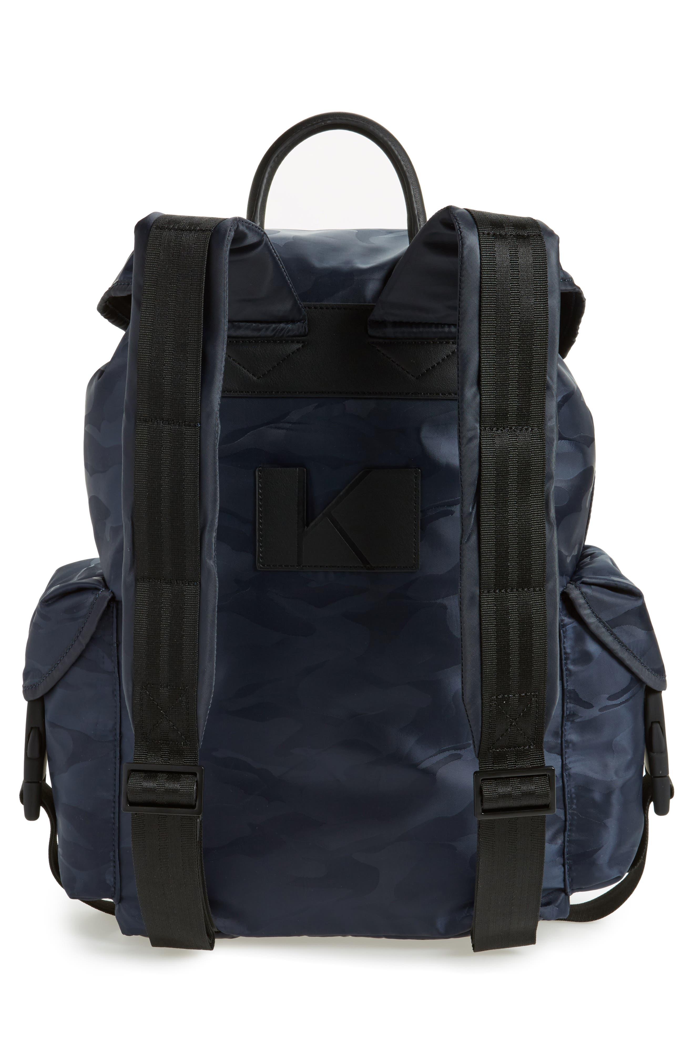 Jordyn Nylon Backpack,                             Alternate thumbnail 3, color,                             Navy Camo