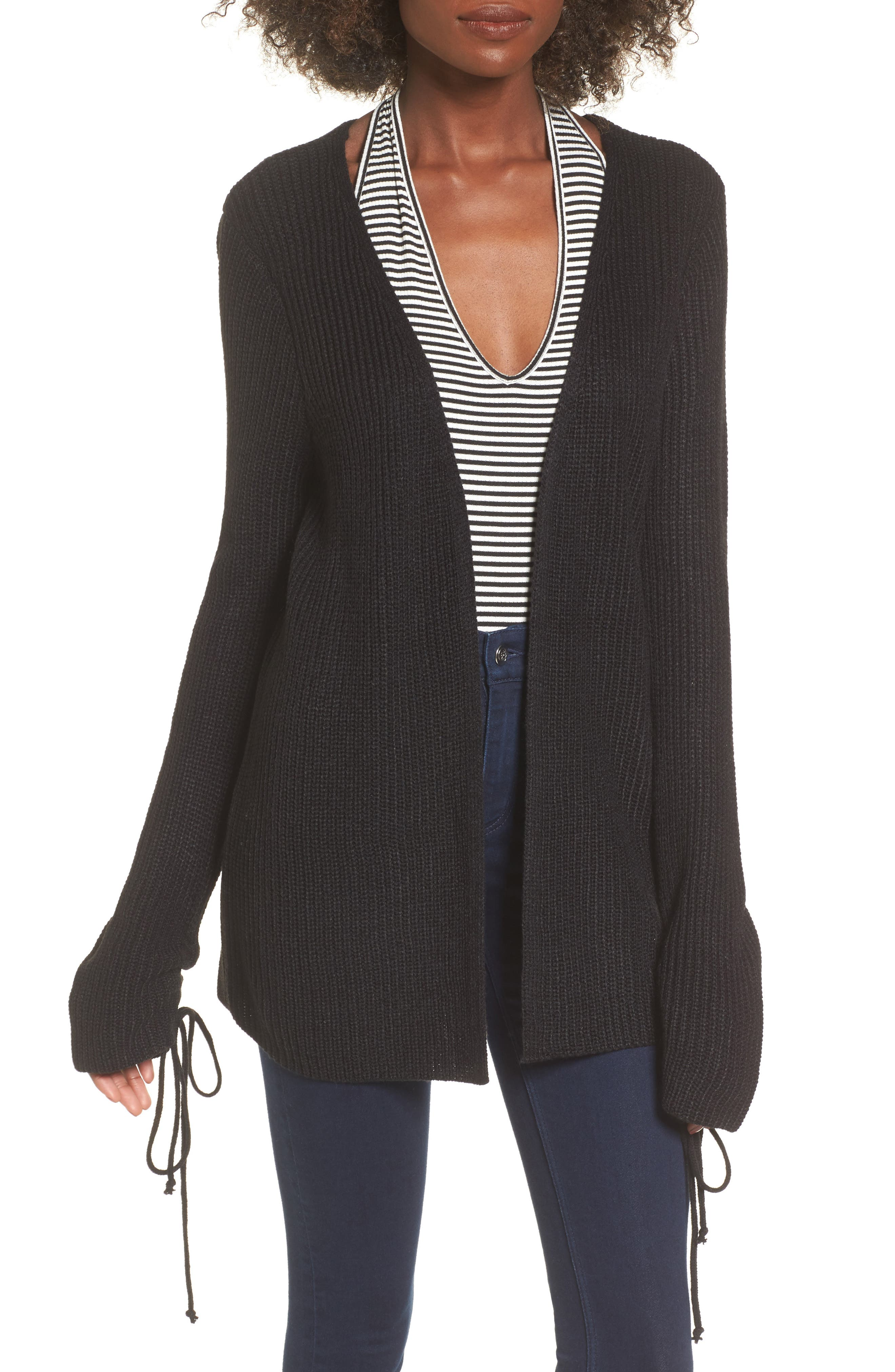 Tie Sleeve Cardigan,                             Main thumbnail 1, color,                             Black