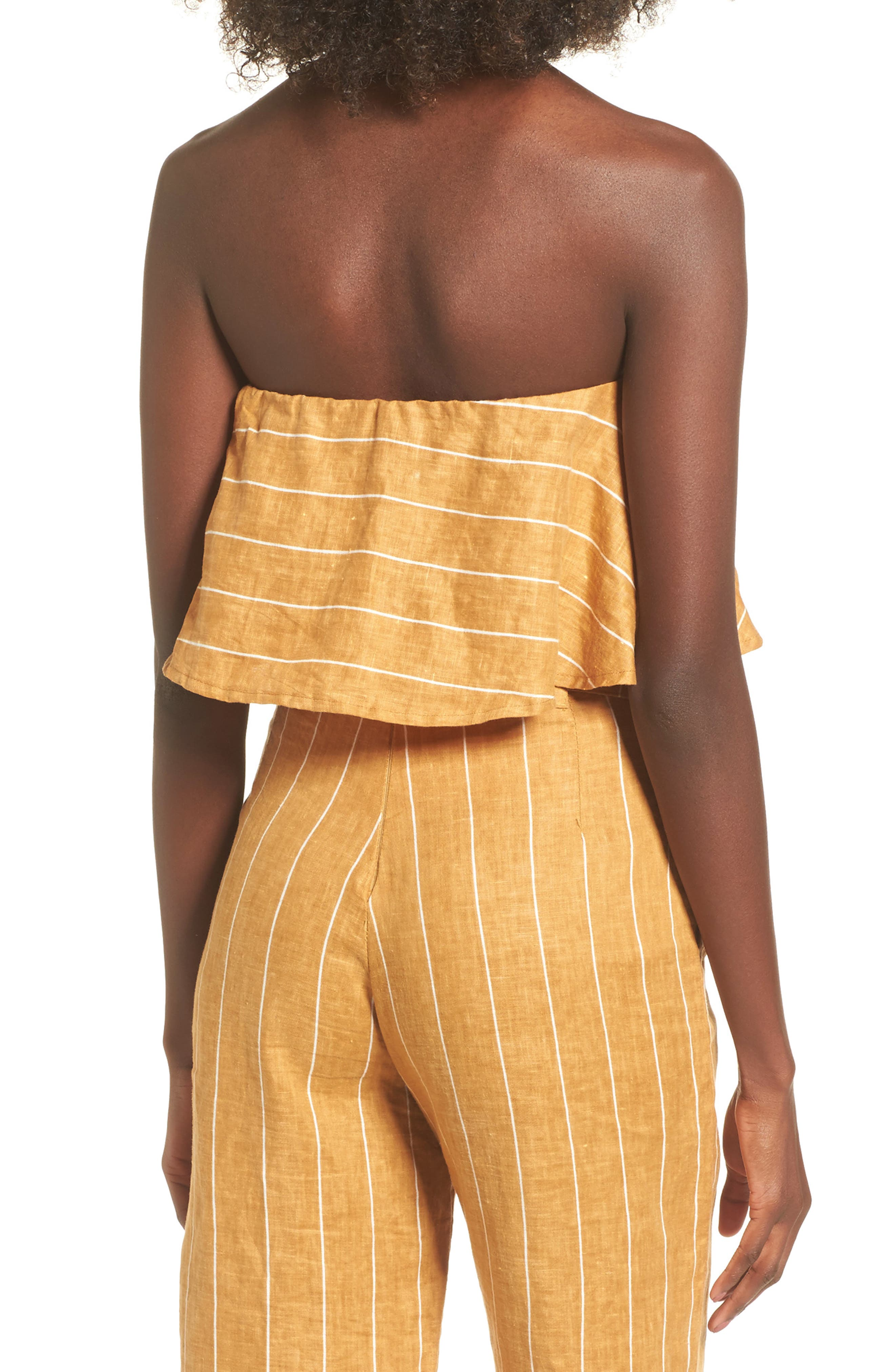 Solana Stripe Strapless Linen Crop Top,                             Alternate thumbnail 3, color,                             Copenhagen Stripe