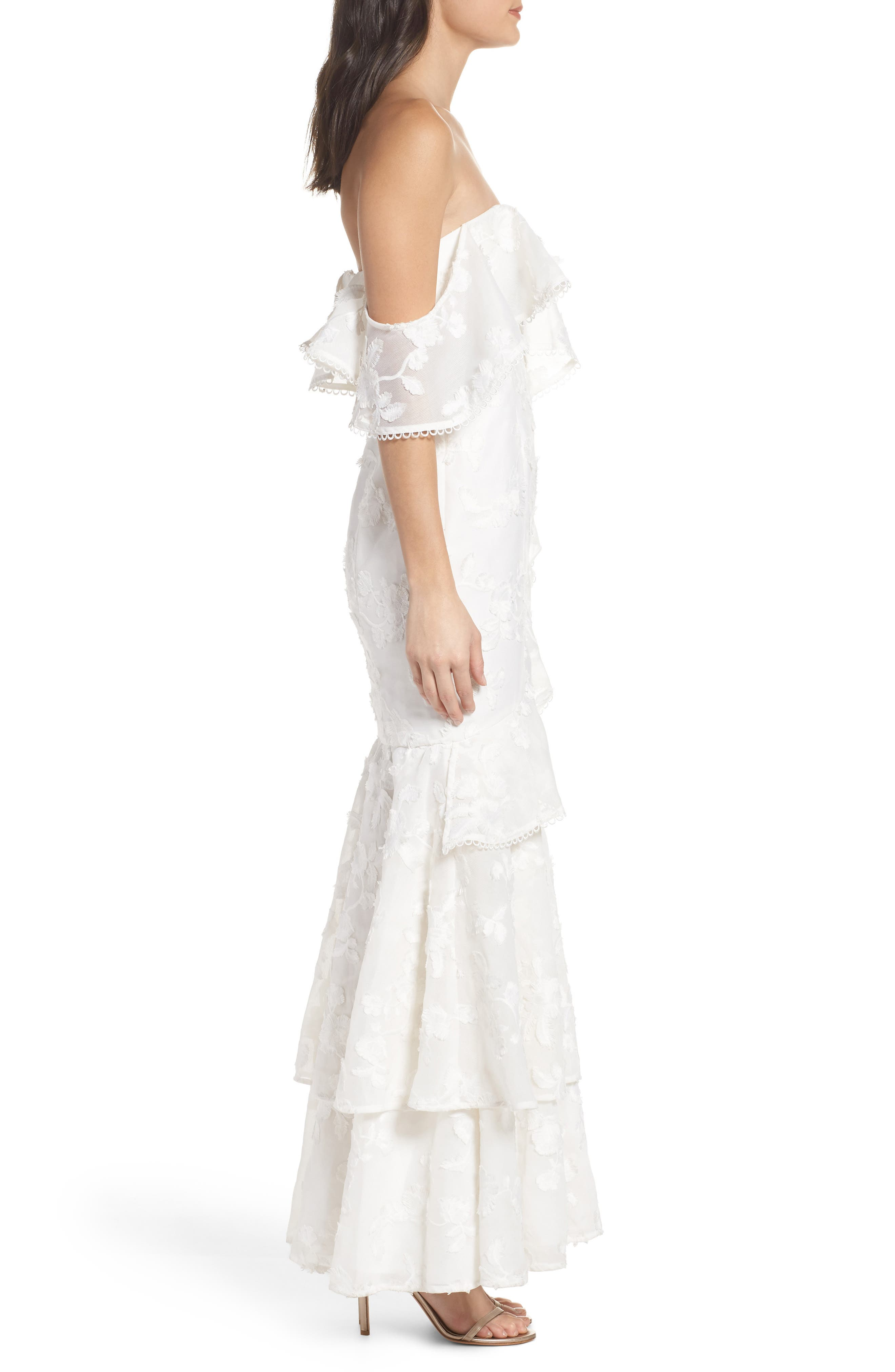 Shine Off the Shoulder Lace Gown,                             Alternate thumbnail 5, color,                             Ivory