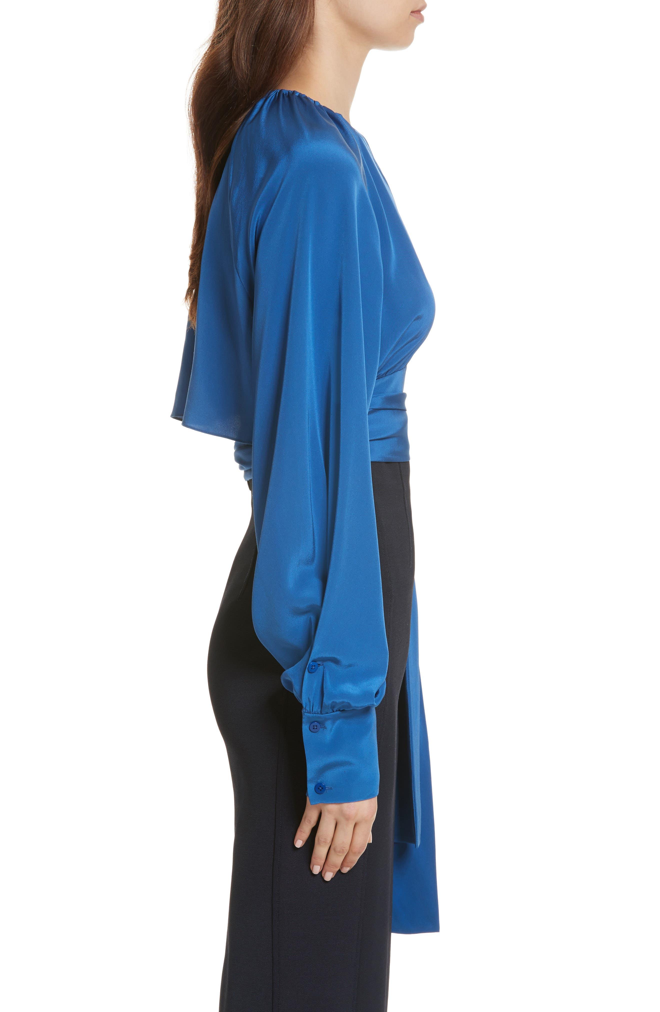 Diane von Furstenberg Keyhole Silk Blouse,                             Alternate thumbnail 3, color,                             Hydrangea