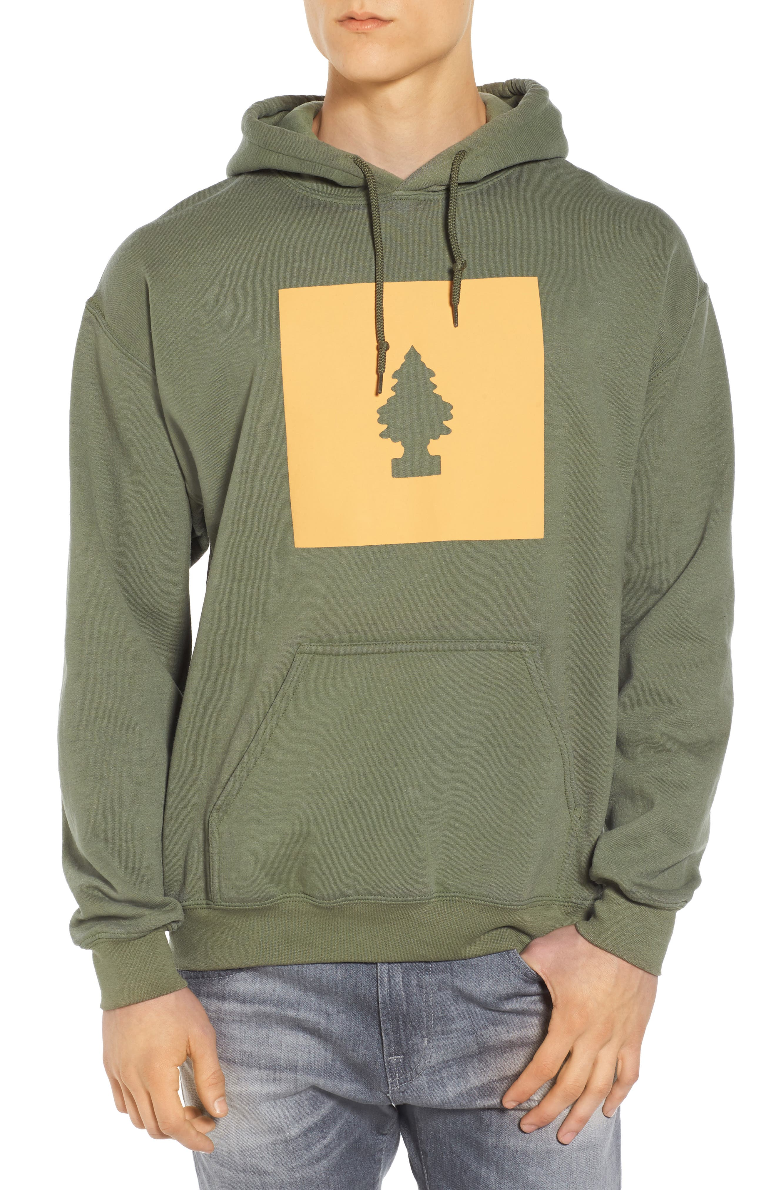 Happy Little Tree Hoodie,                             Main thumbnail 1, color,                             Green