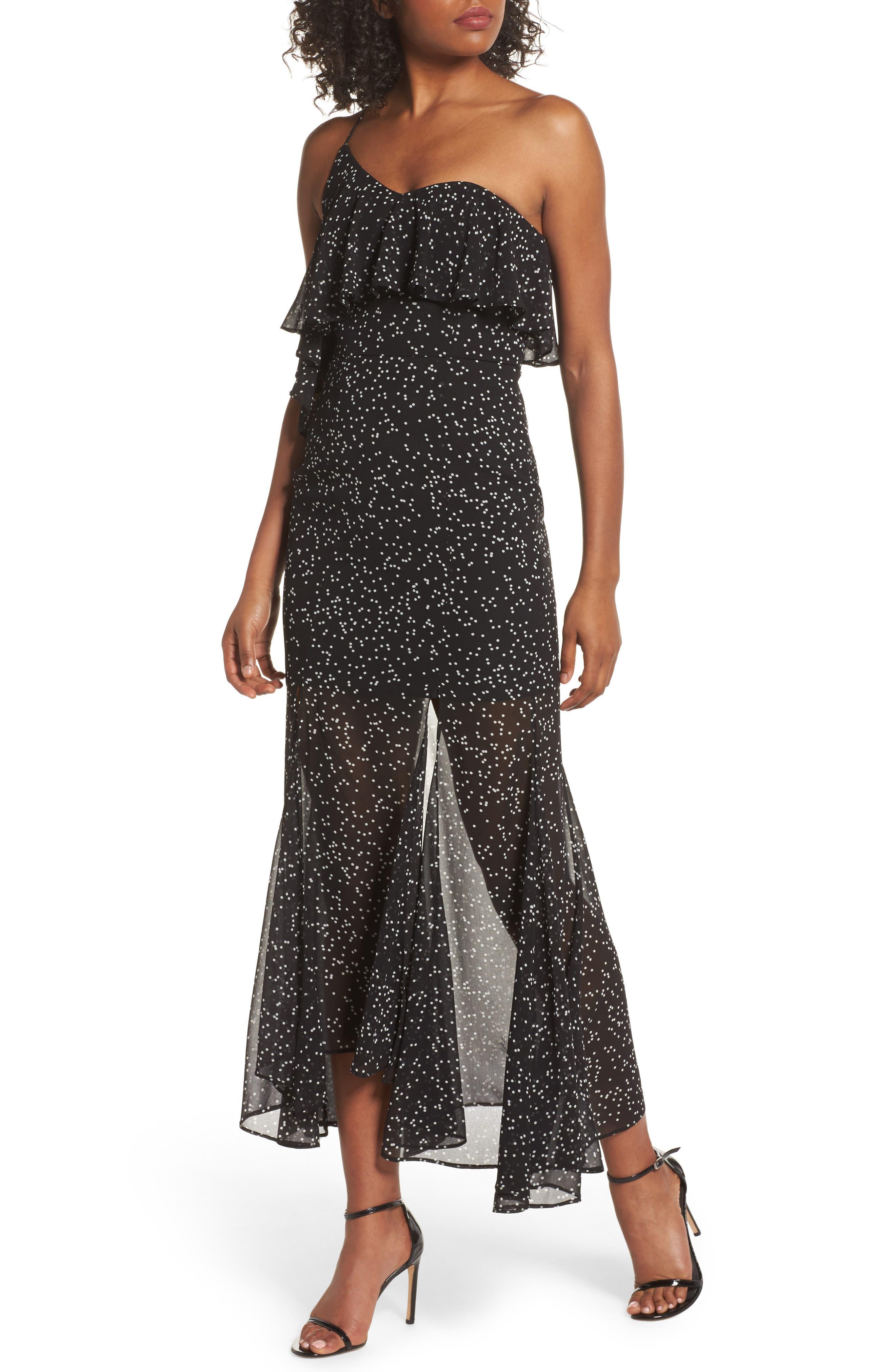 Embrace One Shoulder Dress,                             Main thumbnail 1, color,                             Black W White Spot
