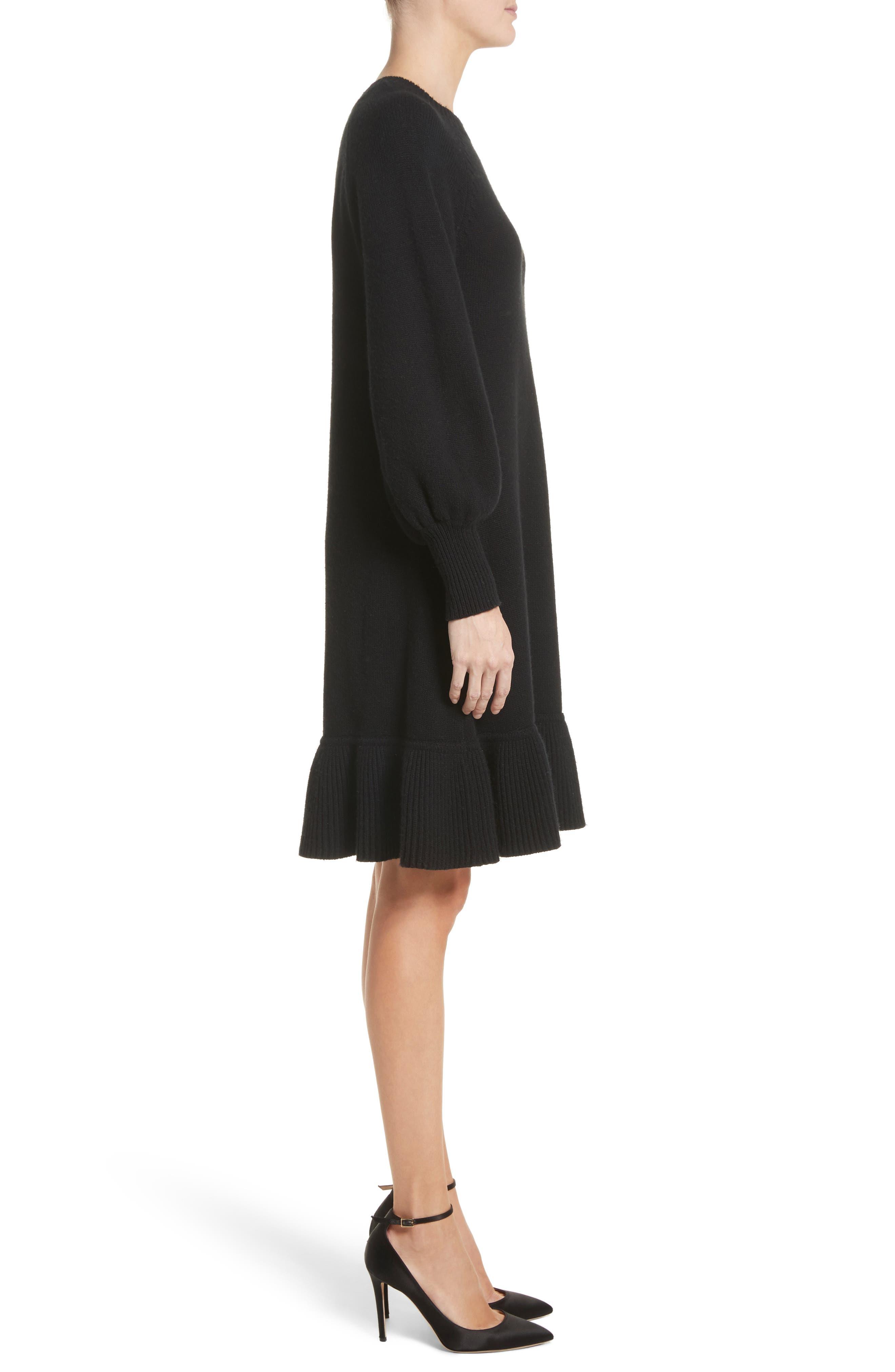 Ruffle Wool & Cashmere Sweater Dress,                             Alternate thumbnail 3, color,                             Black