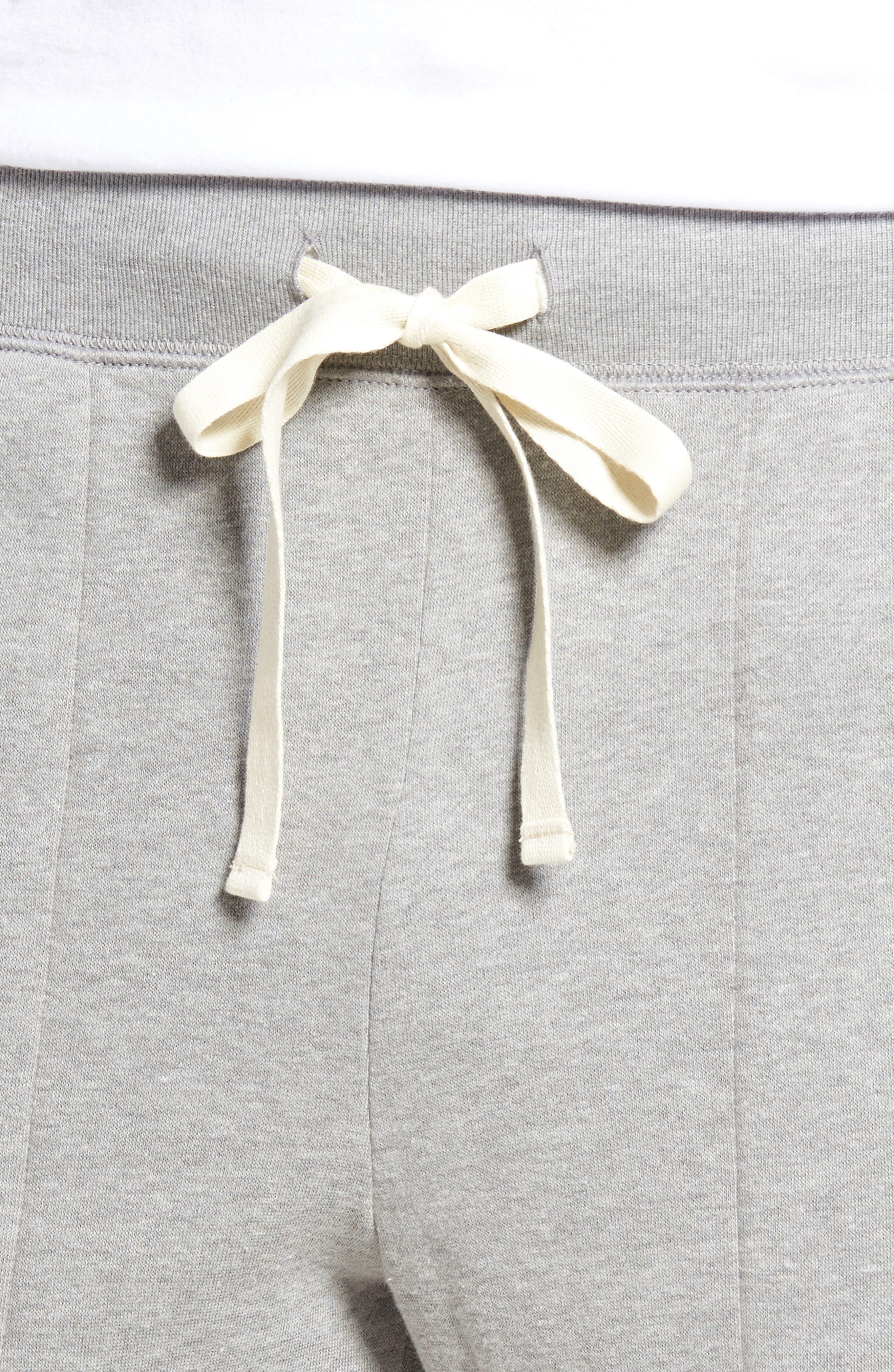 Slim Fit Brushed Fleece Pajama Pants,                             Alternate thumbnail 4, color,                             Andover Heather/ Cream