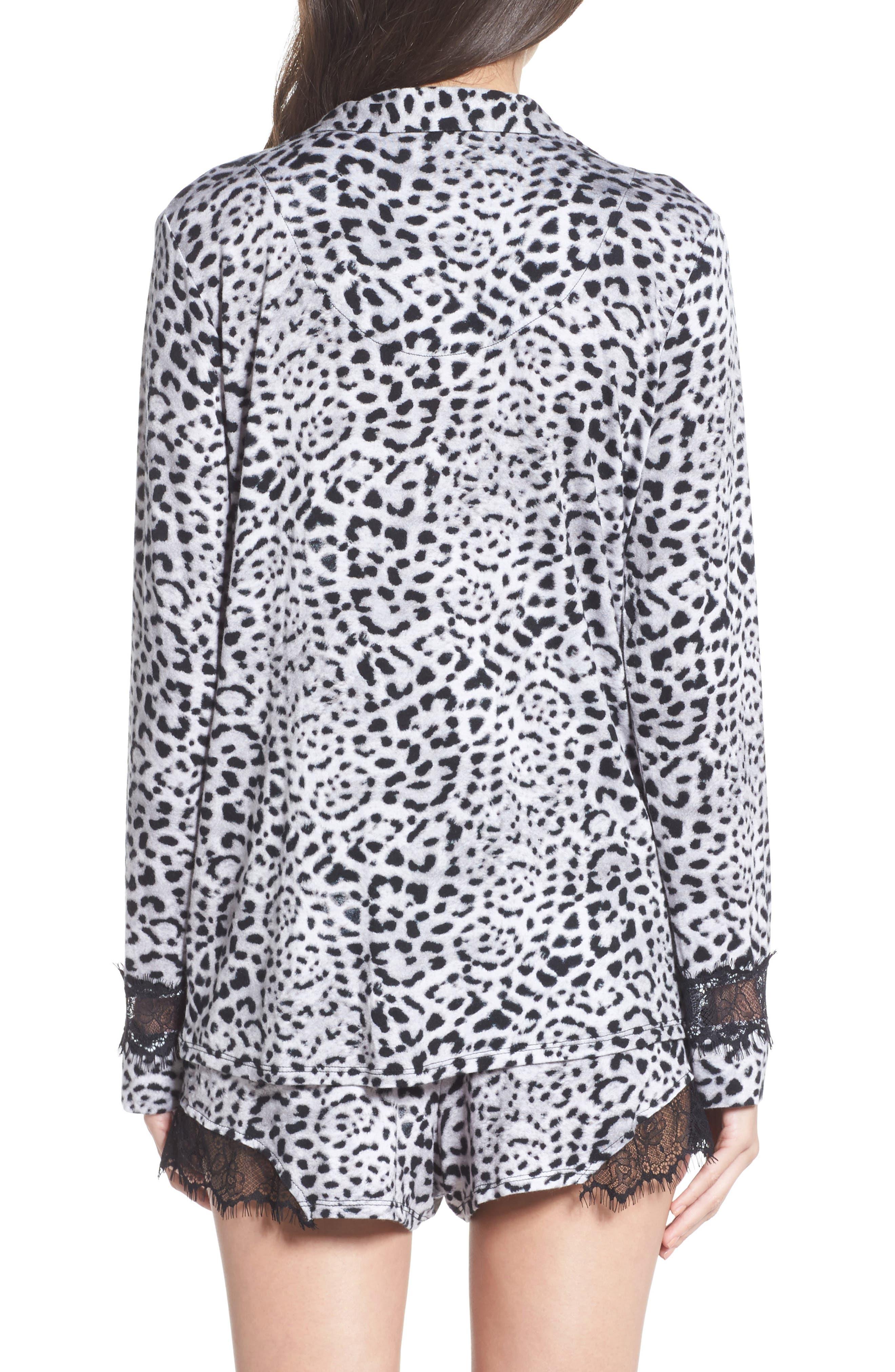 Notch Collar Short Pajamas,                             Alternate thumbnail 2, color,                             Silky Leopard Grey