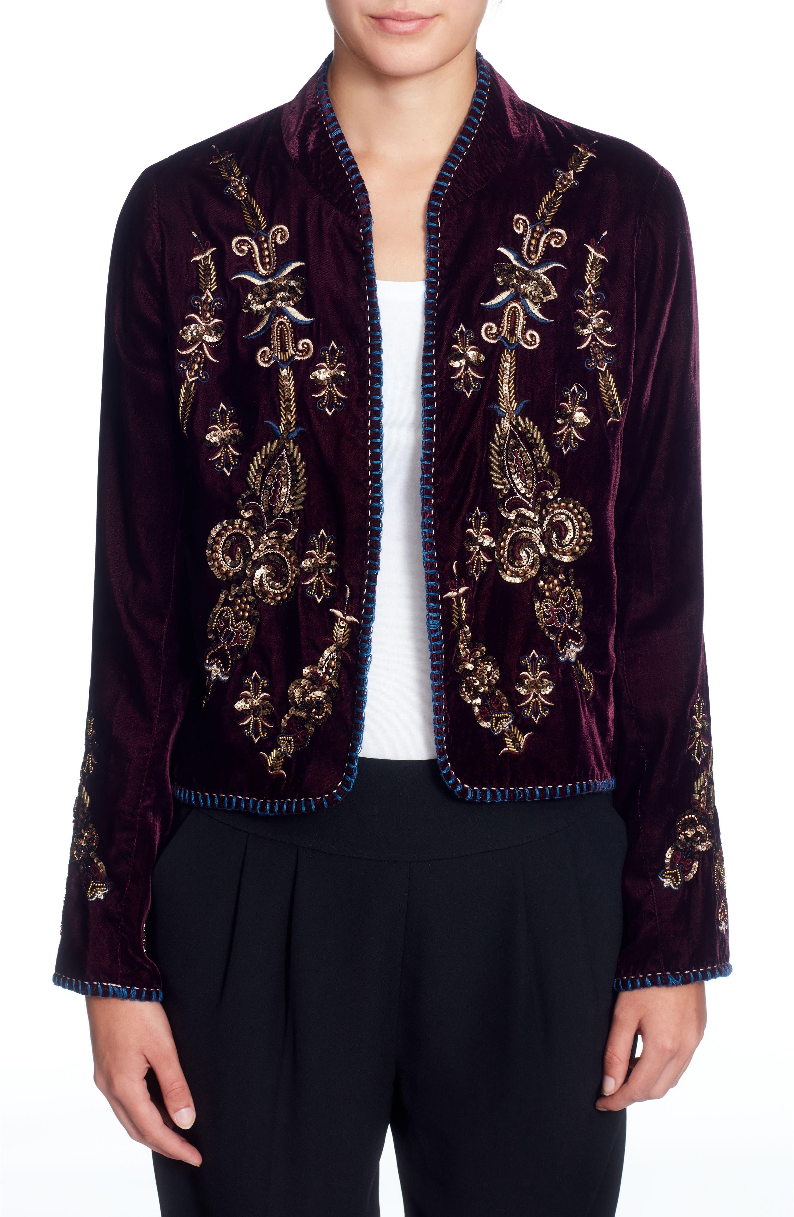 Winstead Embellished Velvet Jacket,                             Main thumbnail 1, color,                             Grape Wine