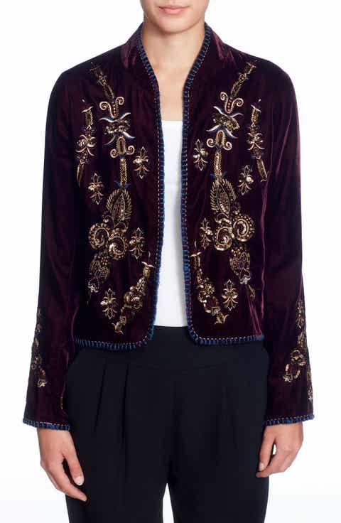 Catherine Catherine Malandrino Winstead Embellished Velvet Jacket