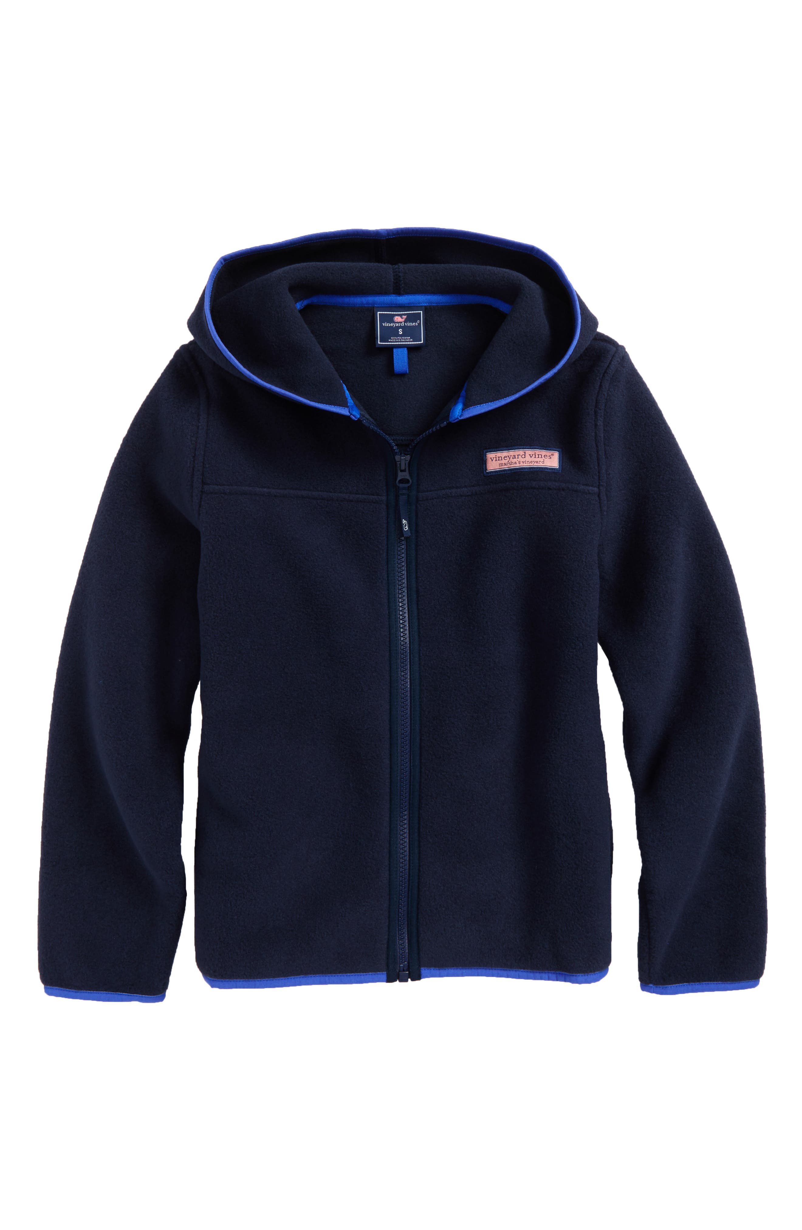 Hooded Full Zip Fleece Jacket,                             Main thumbnail 1, color,                             Vineyard Navy
