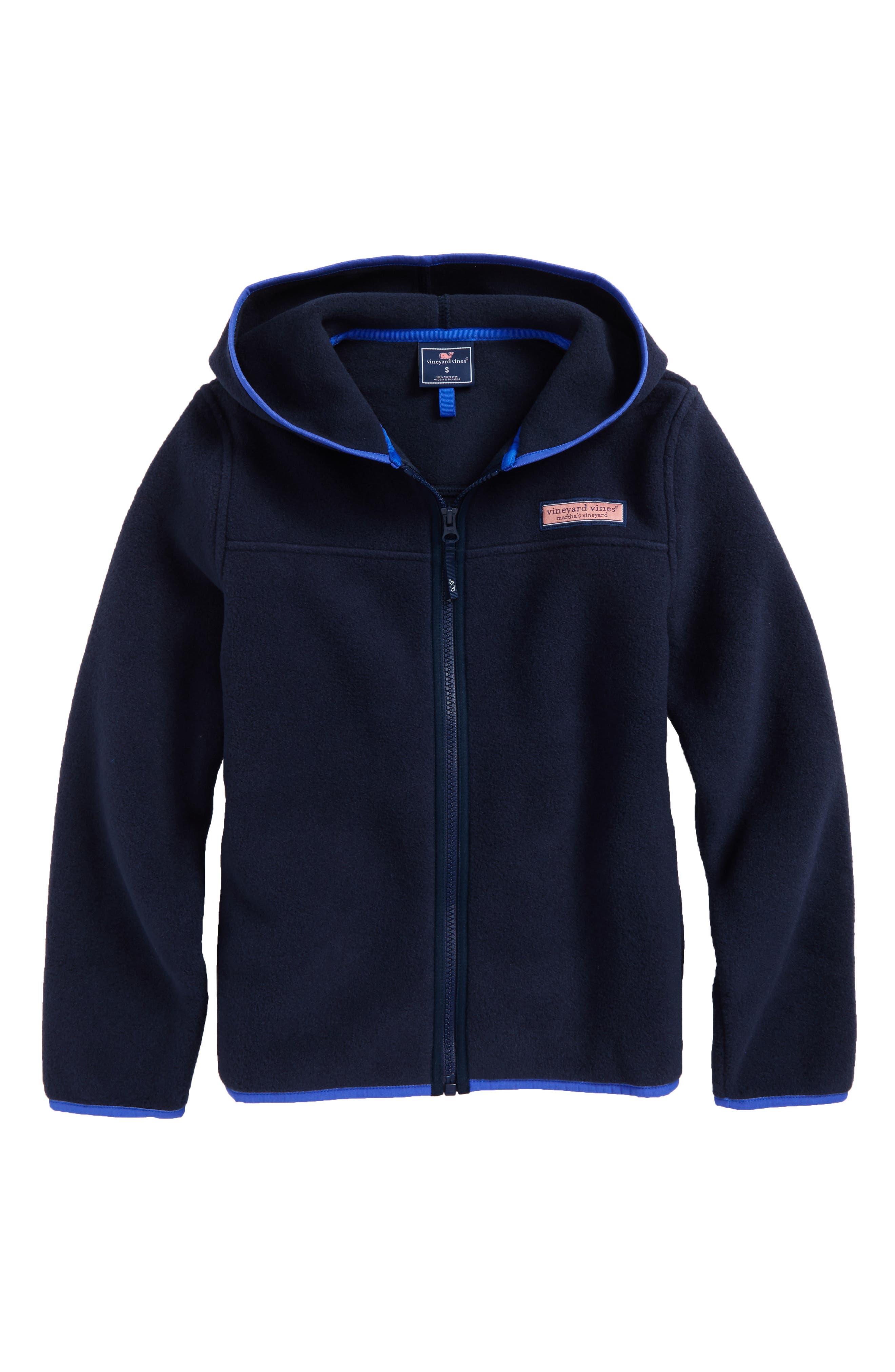 Hooded Full Zip Fleece Jacket,                         Main,                         color, Vineyard Navy