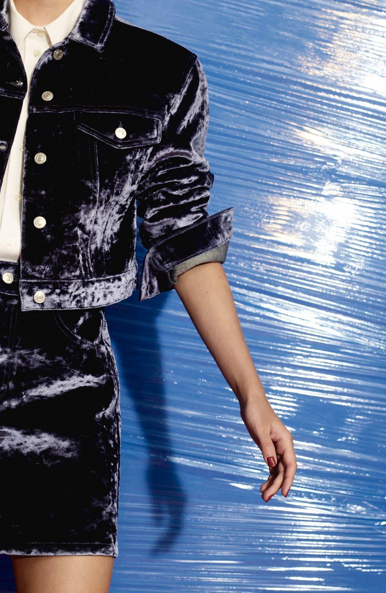 Bonded Velvet Jacket,                             Alternate thumbnail 5, color,                             Blue