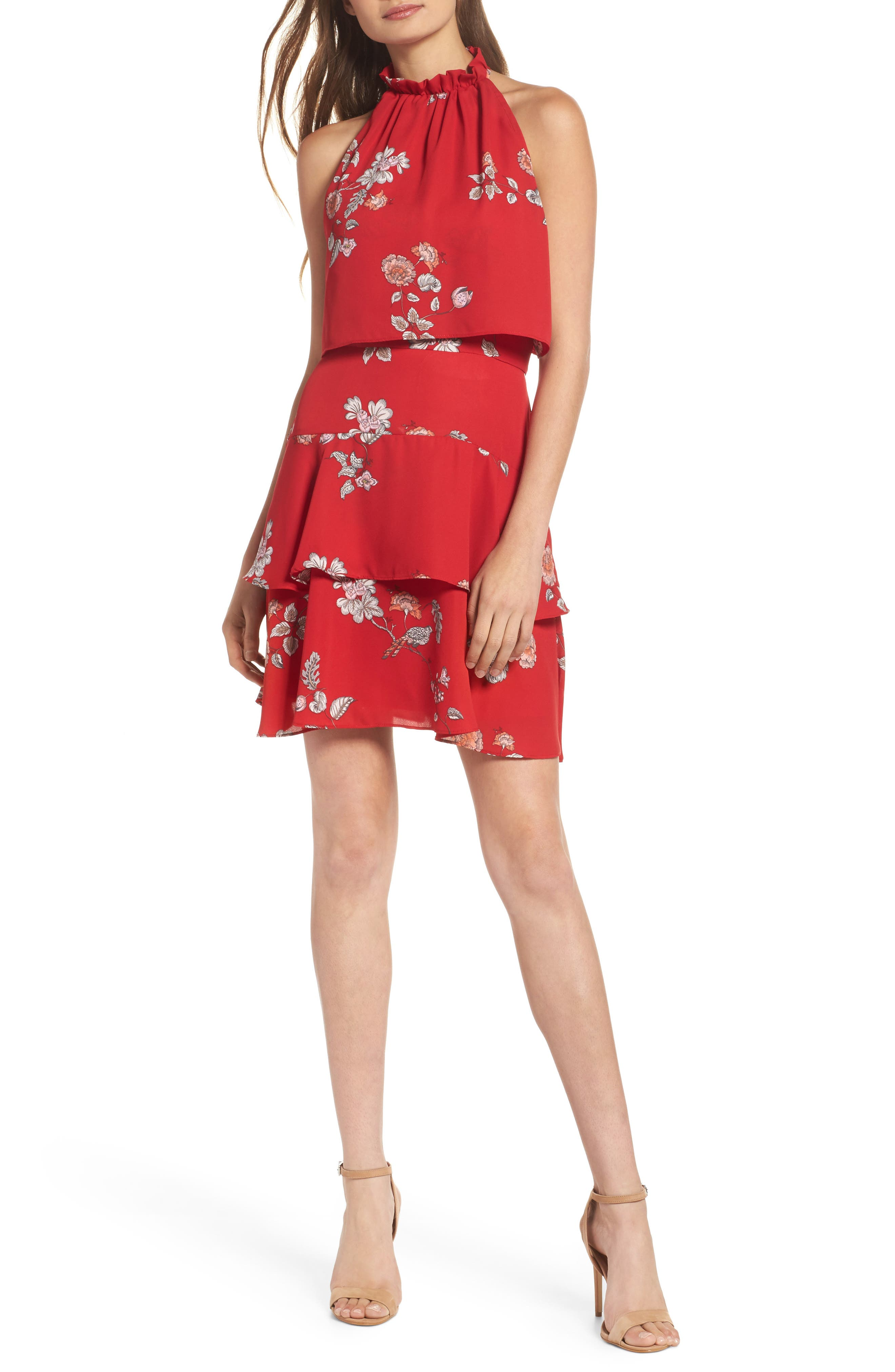 Cadence Ruffle Halter Dress,                             Main thumbnail 1, color,                             Red
