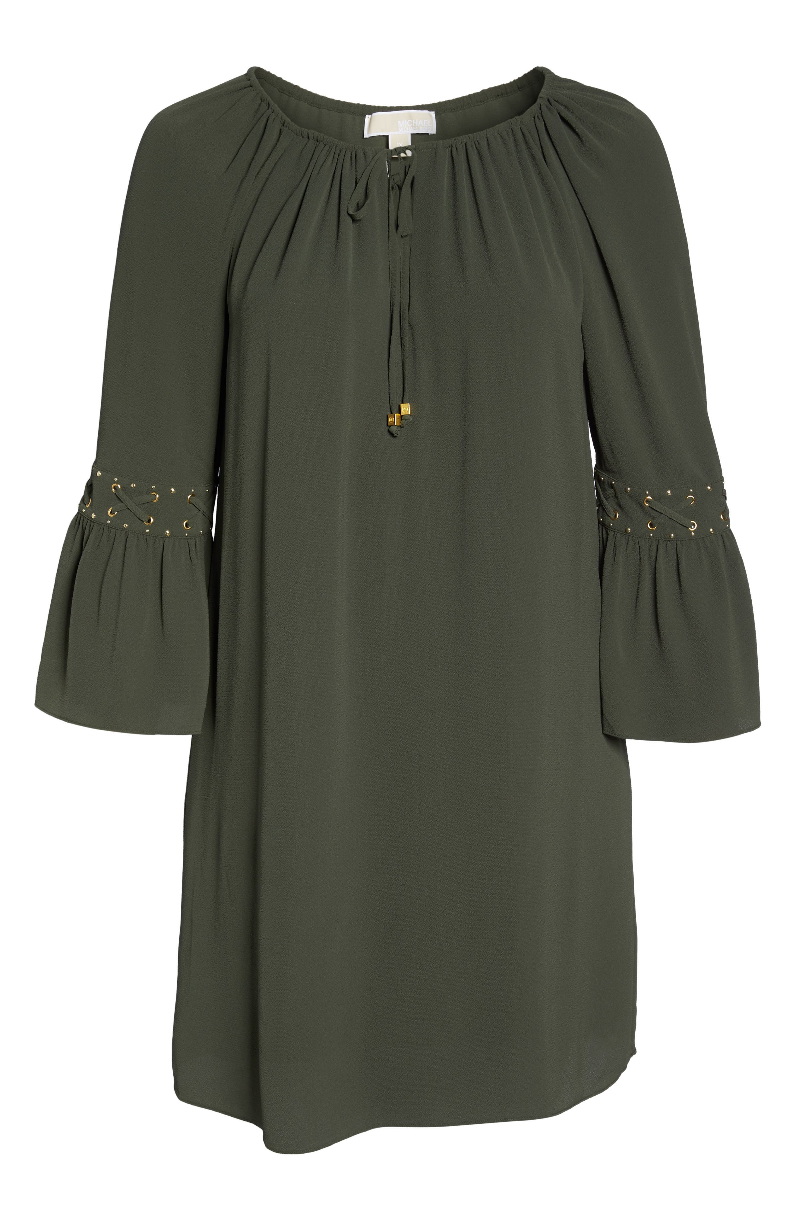 Lace-Up Sleeve Dress,                             Alternate thumbnail 6, color,                             Ivy