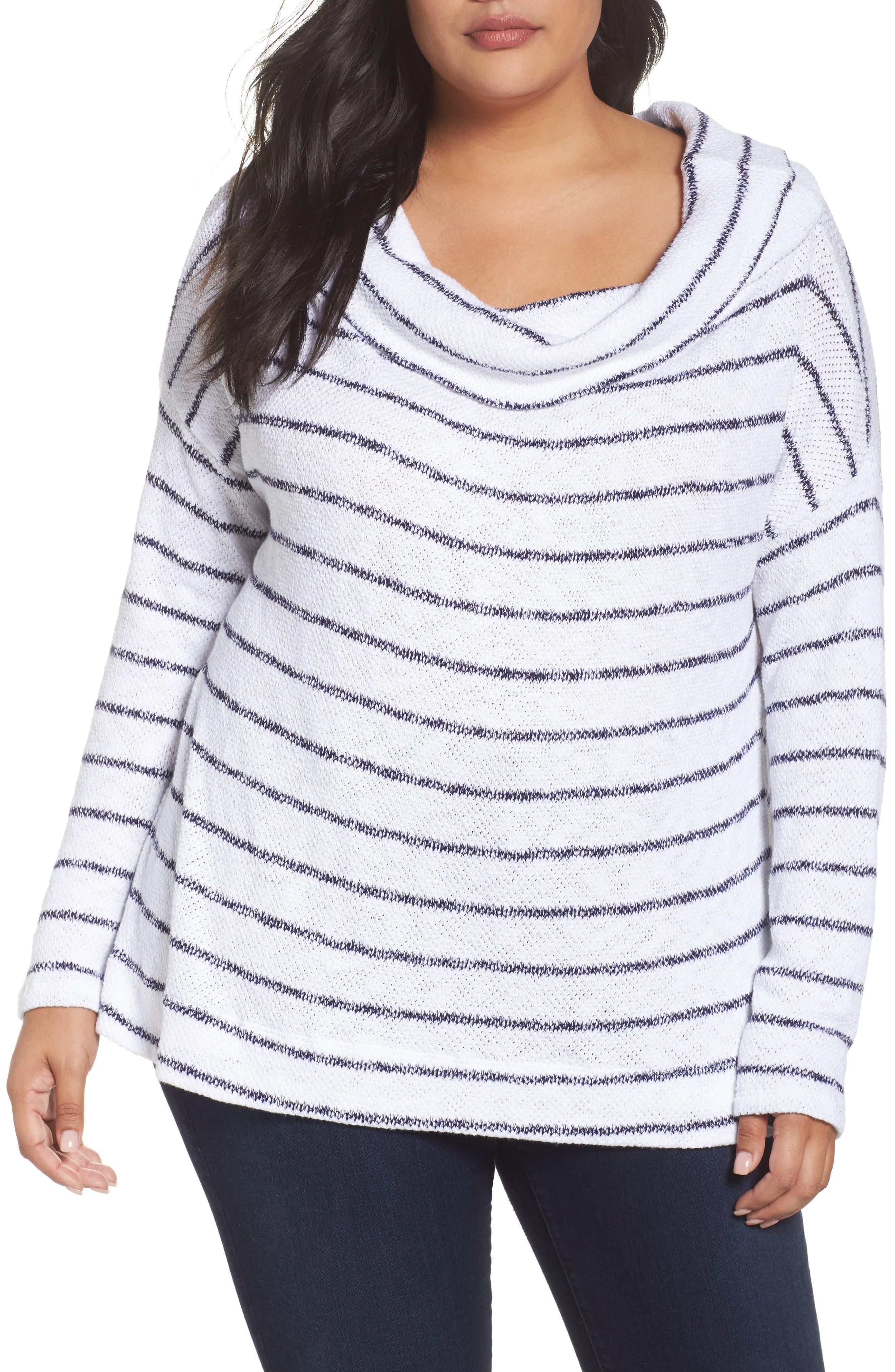 Convertible Neck Pullover,                         Main,                         color, White- Navy Stripe