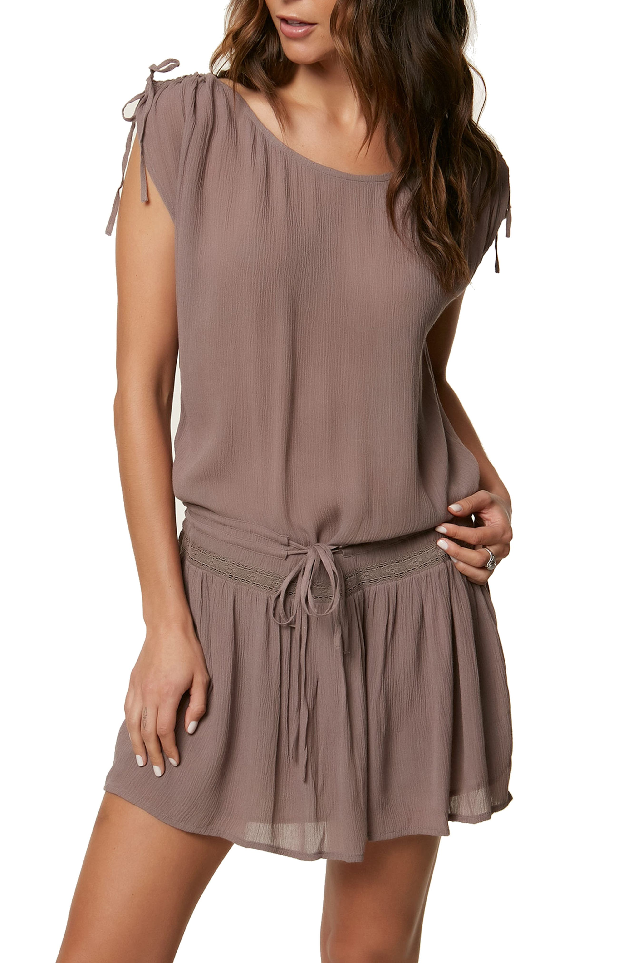 Zenna Gauze Drop Waist Dress,                         Main,                         color, Shale