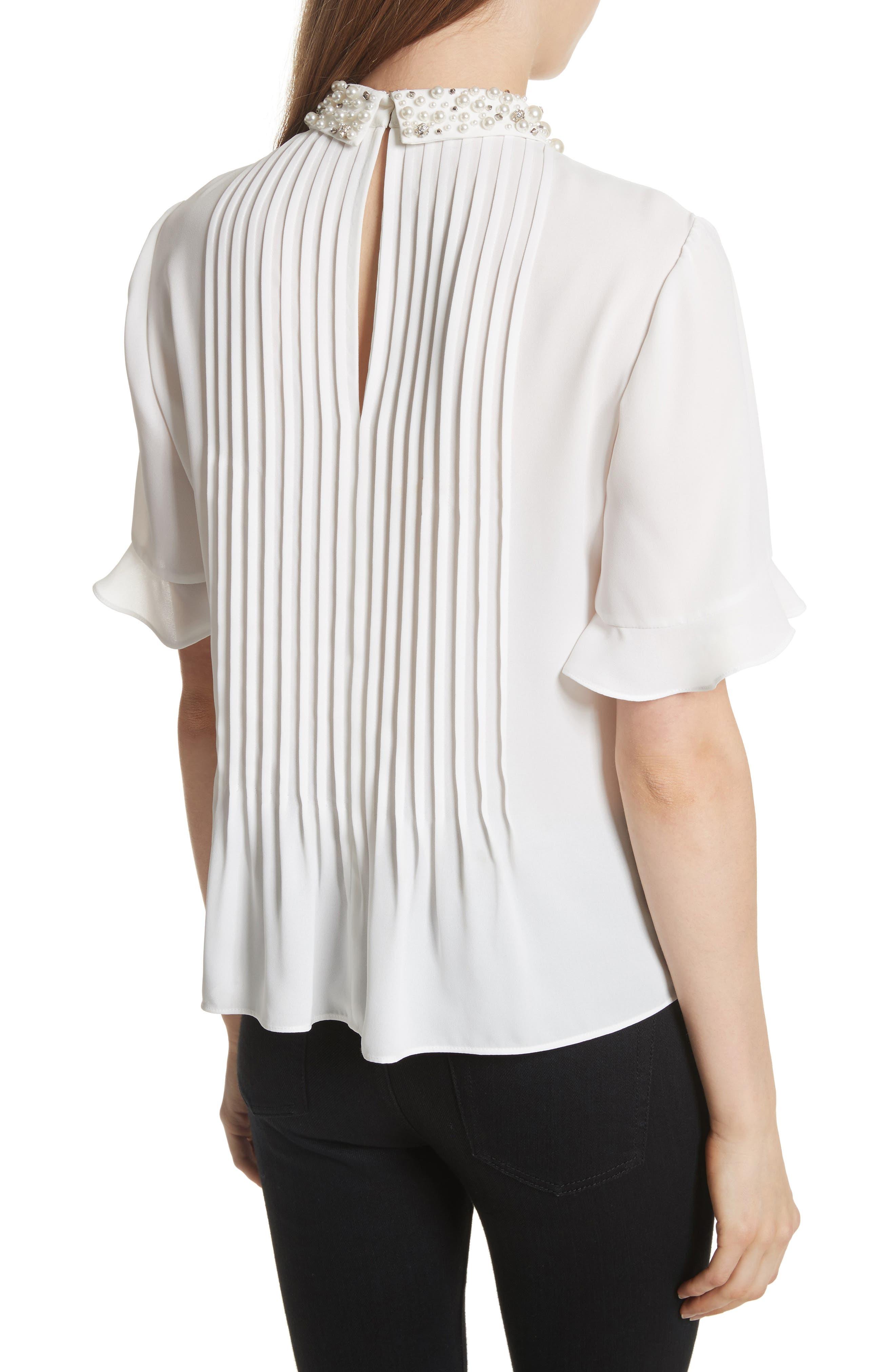 embellished collar shirt,                             Alternate thumbnail 2, color,                             Cream