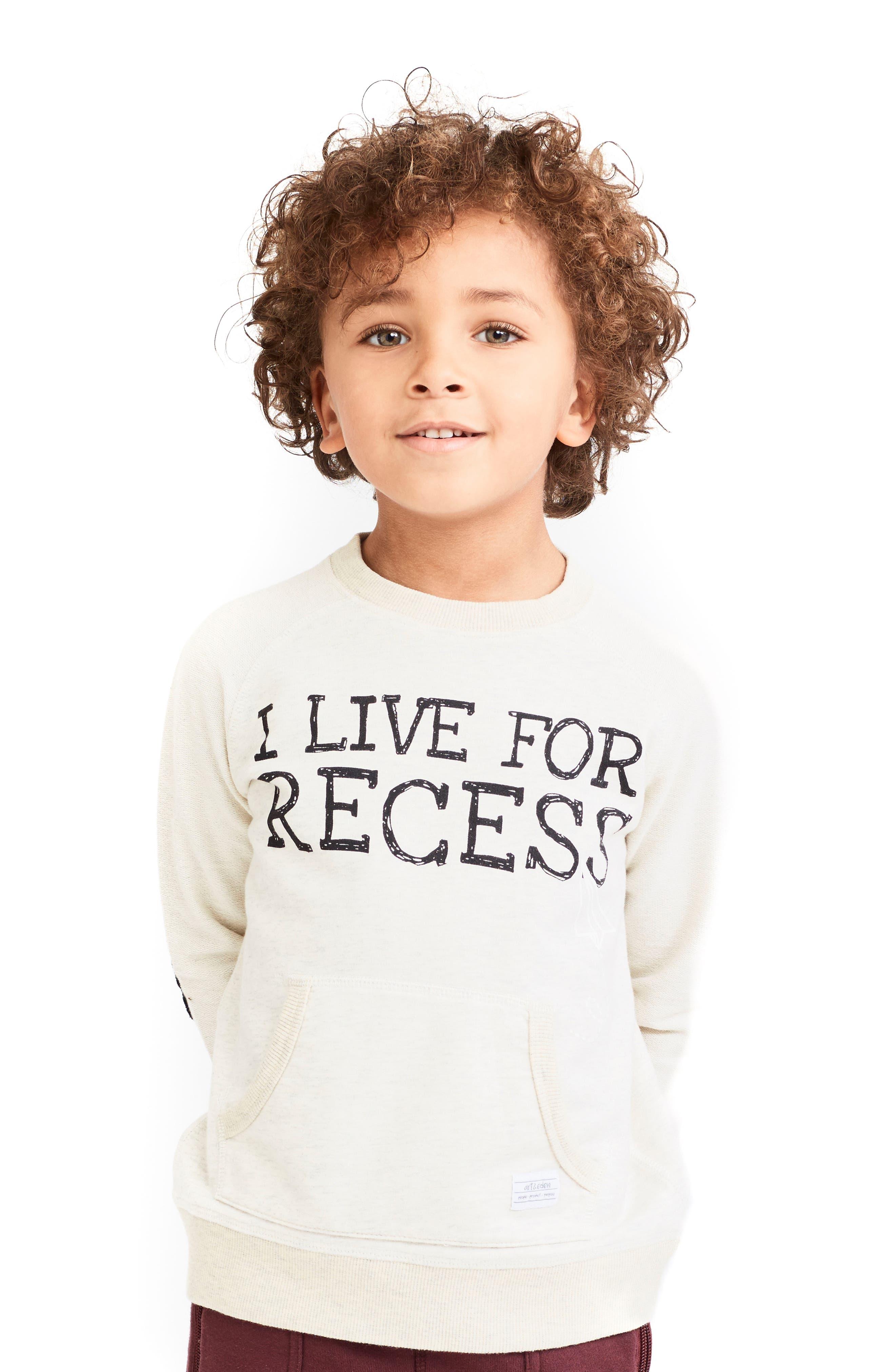 Main Image - Art & Eden I Live For Recess Long Sleeve Pocket Sweatshirt (Toddler Boys, Little Boys & Big Boys)