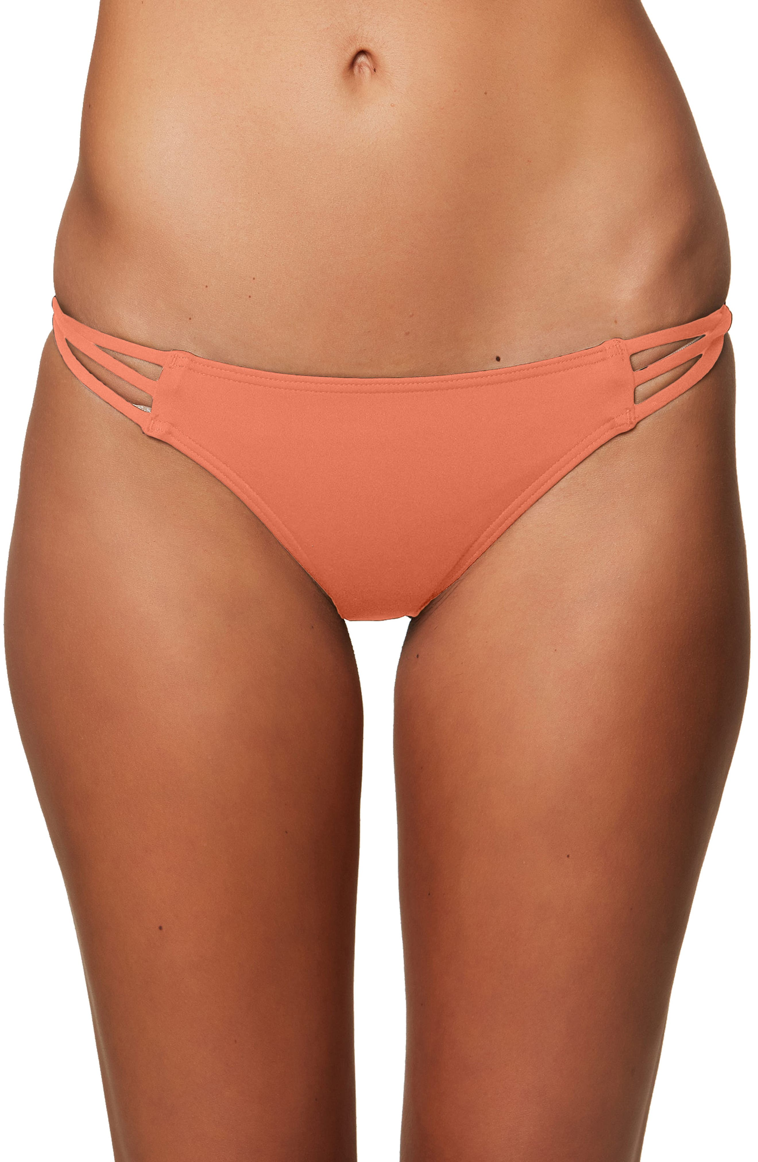 Salt Water Solids Strappy Bikini Bottoms,                             Main thumbnail 1, color,                             Coral Punch