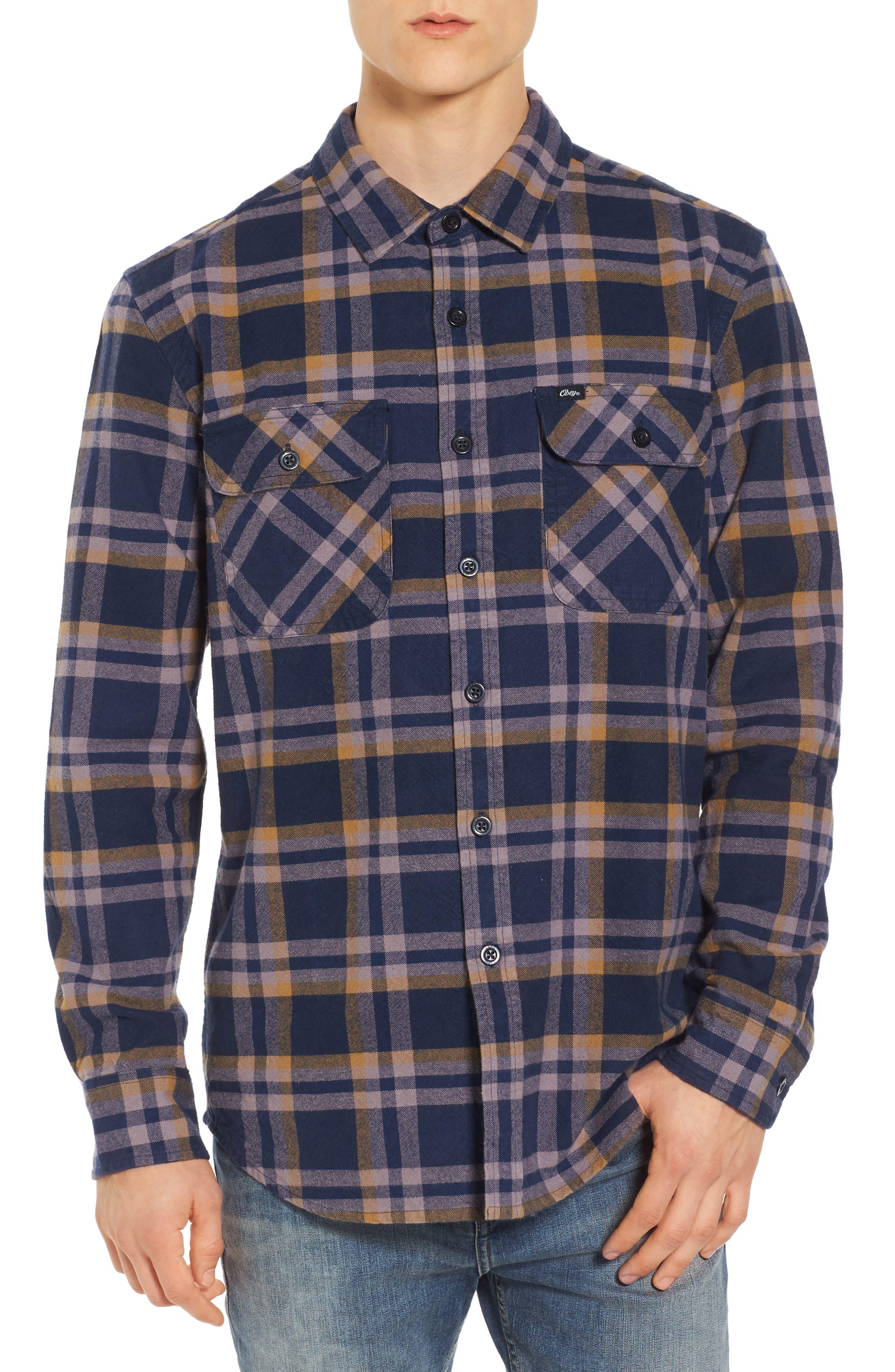 Plaid Flannel Shirt,                         Main,                         color, Dark Navy Multi
