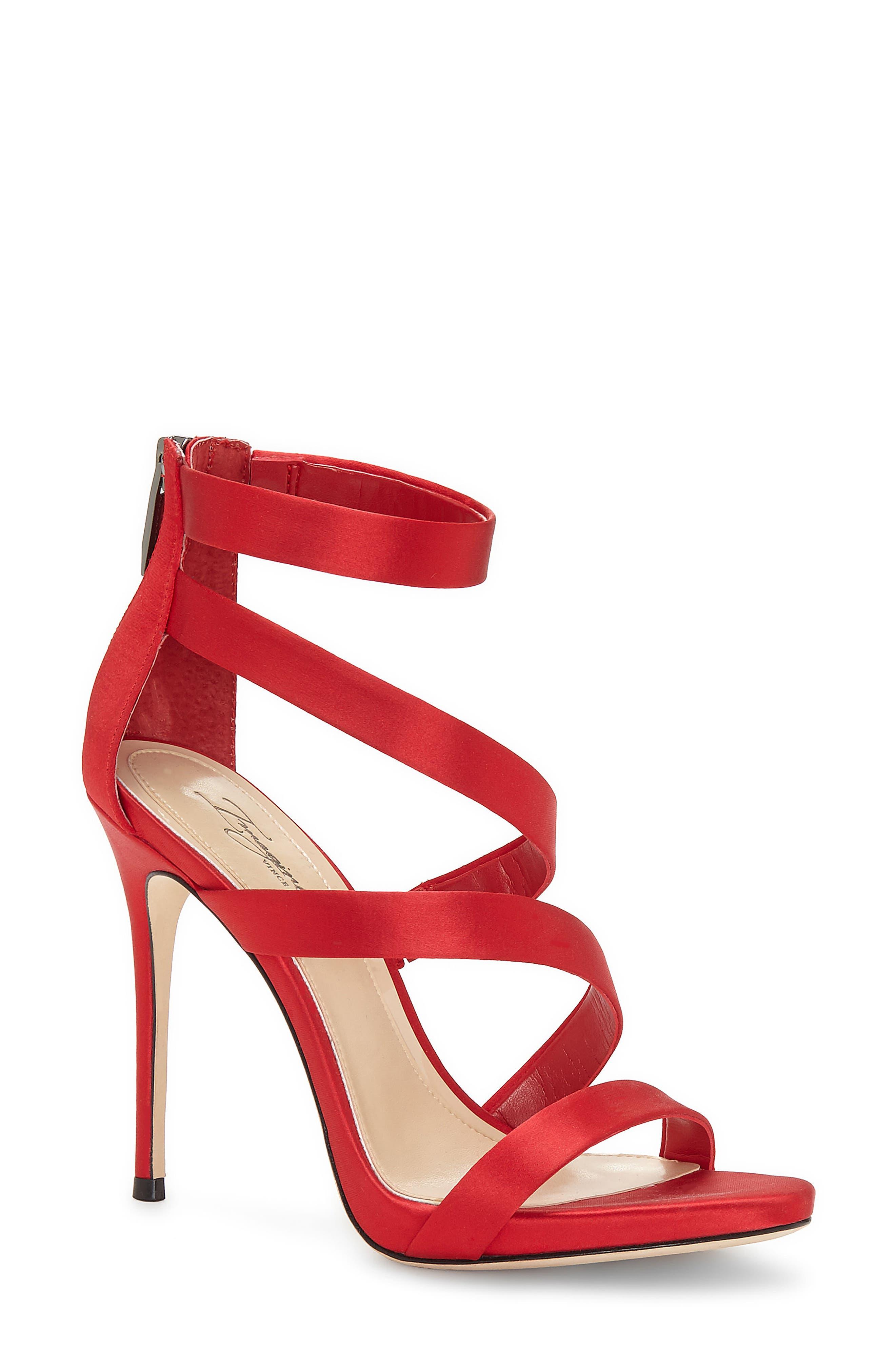 Imagine Vince Camuto Dalles Tall Strappy Sandal,                             Main thumbnail 1, color,                             Crimson Satin