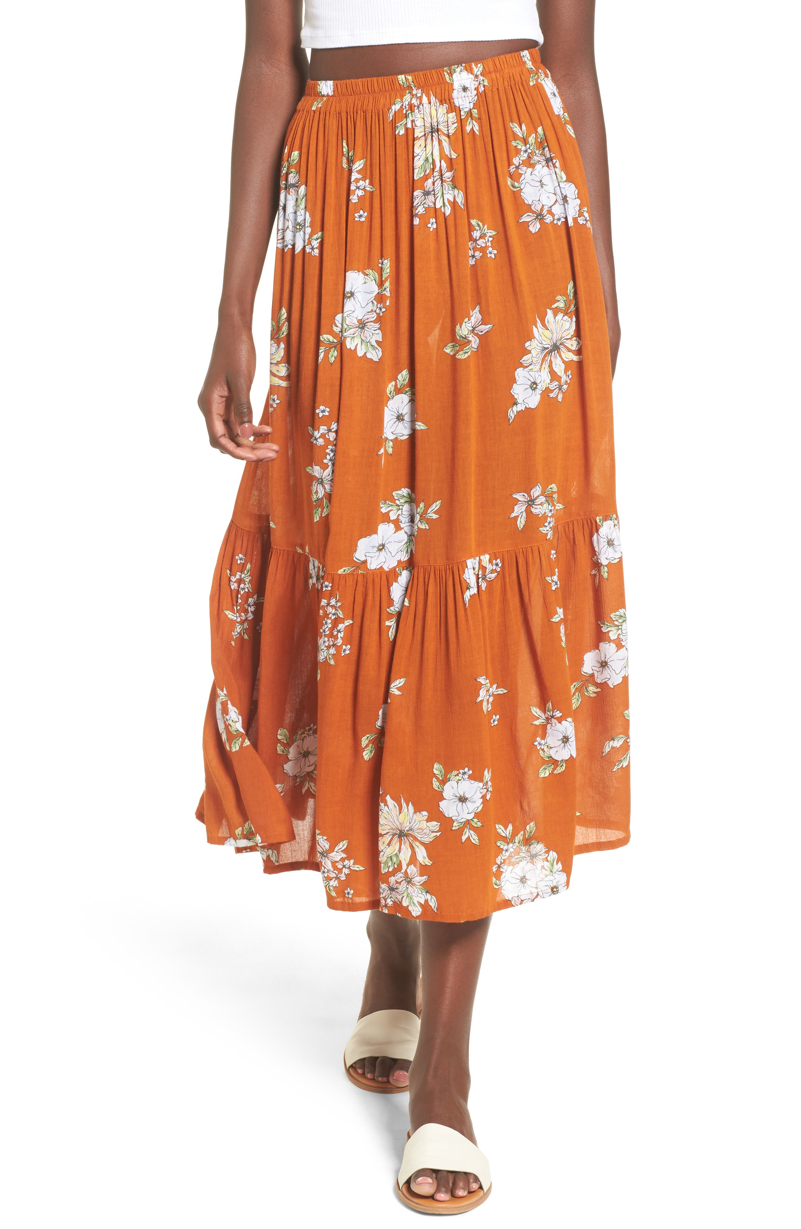 Main Image - FAITHFULL THE BRAND Rosewood Floral Tiered Skirt