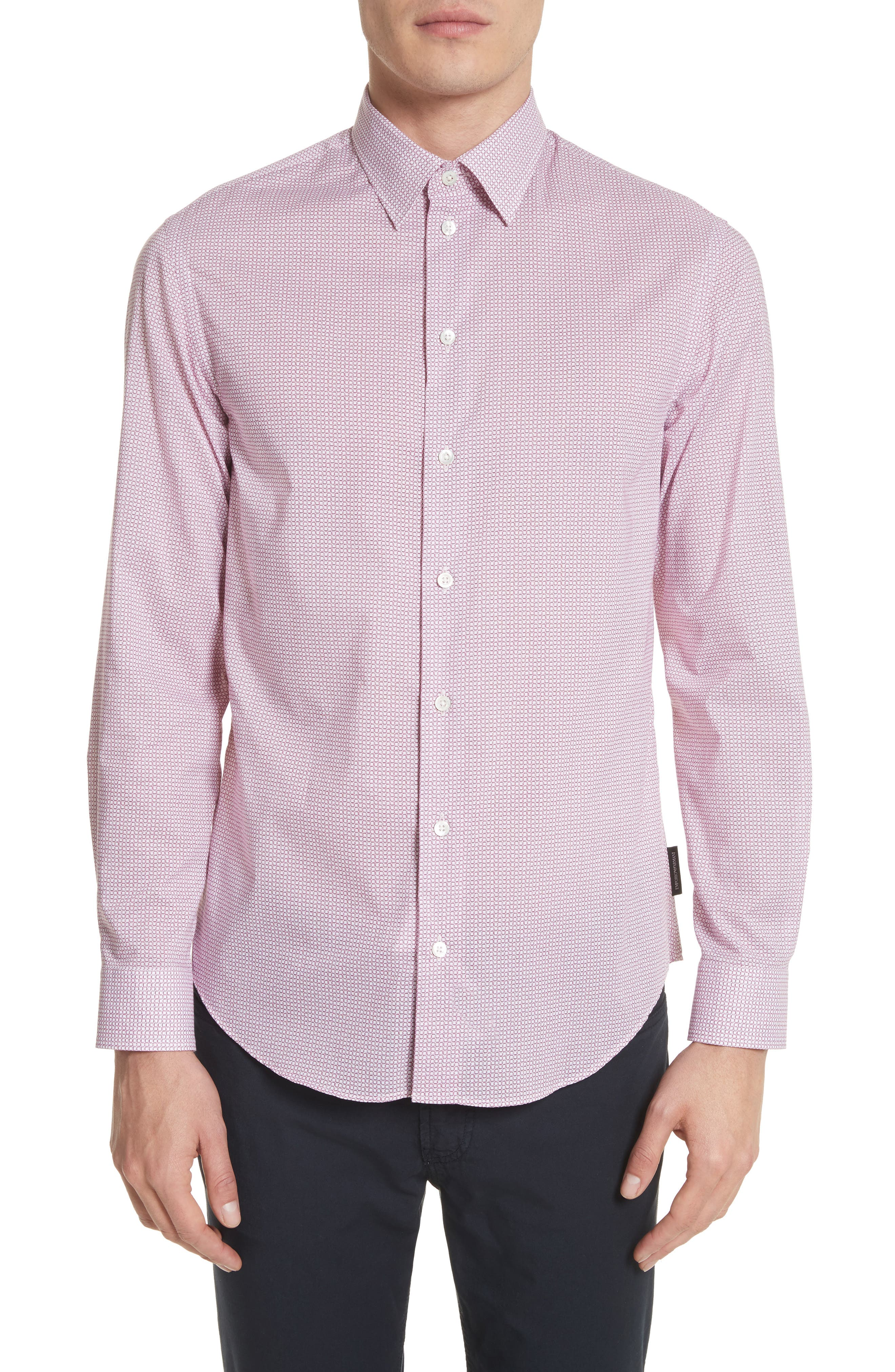 Regular Fit Check Print Sport Shirt,                         Main,                         color, Red