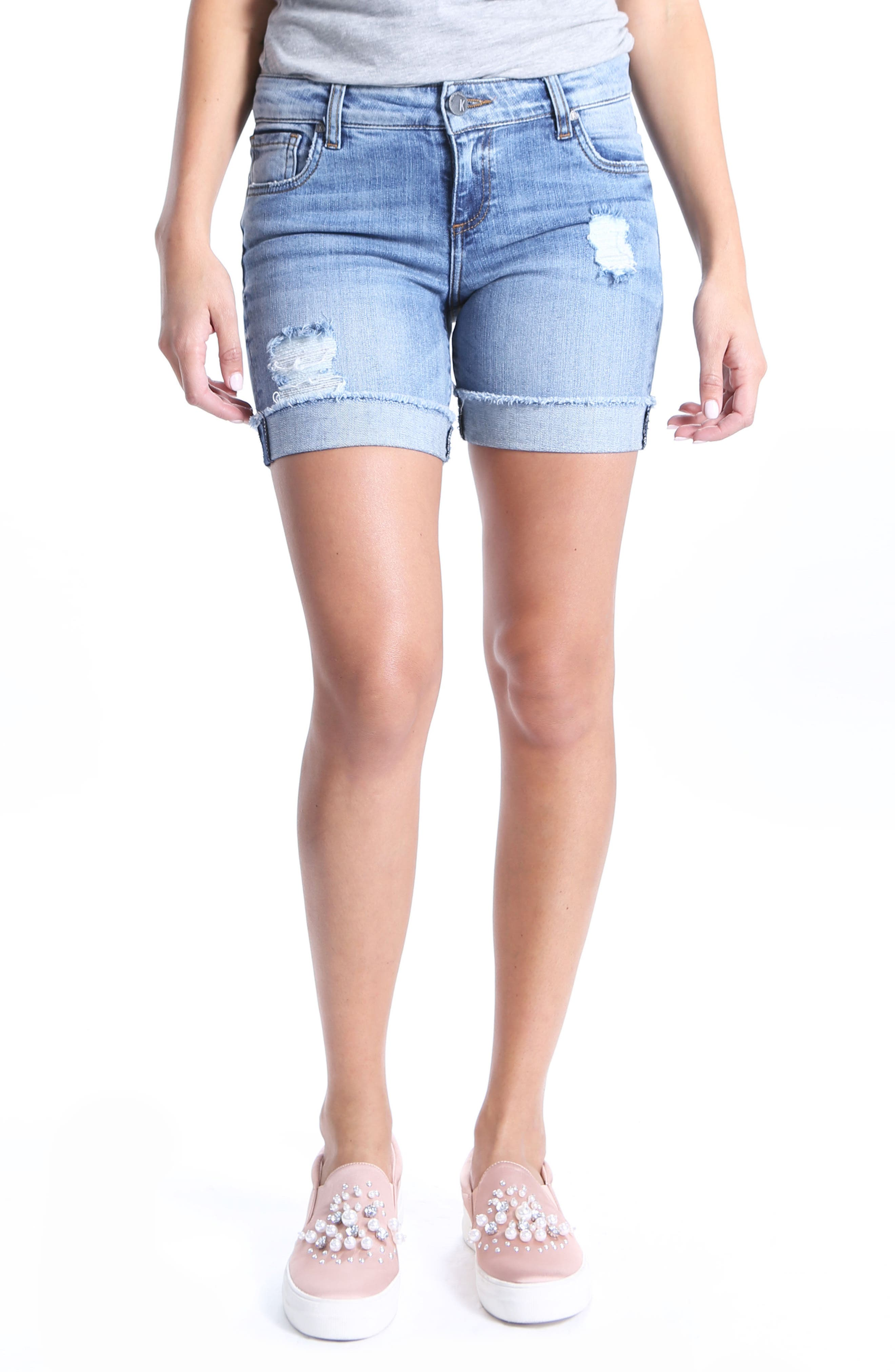 Catherine Ripped Denim Boyfriend Shorts,                         Main,                         color, Organized