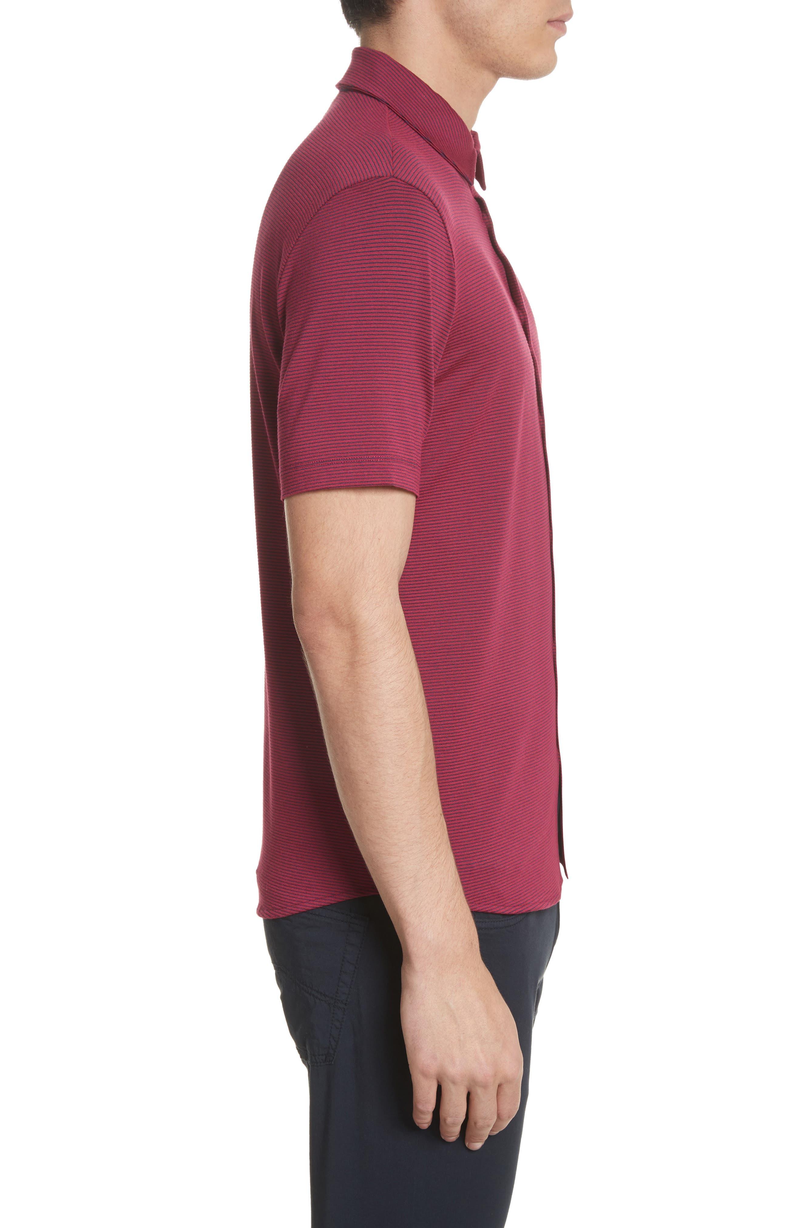 Slim Fit Knit Shirt,                             Alternate thumbnail 3, color,                             Borgogna