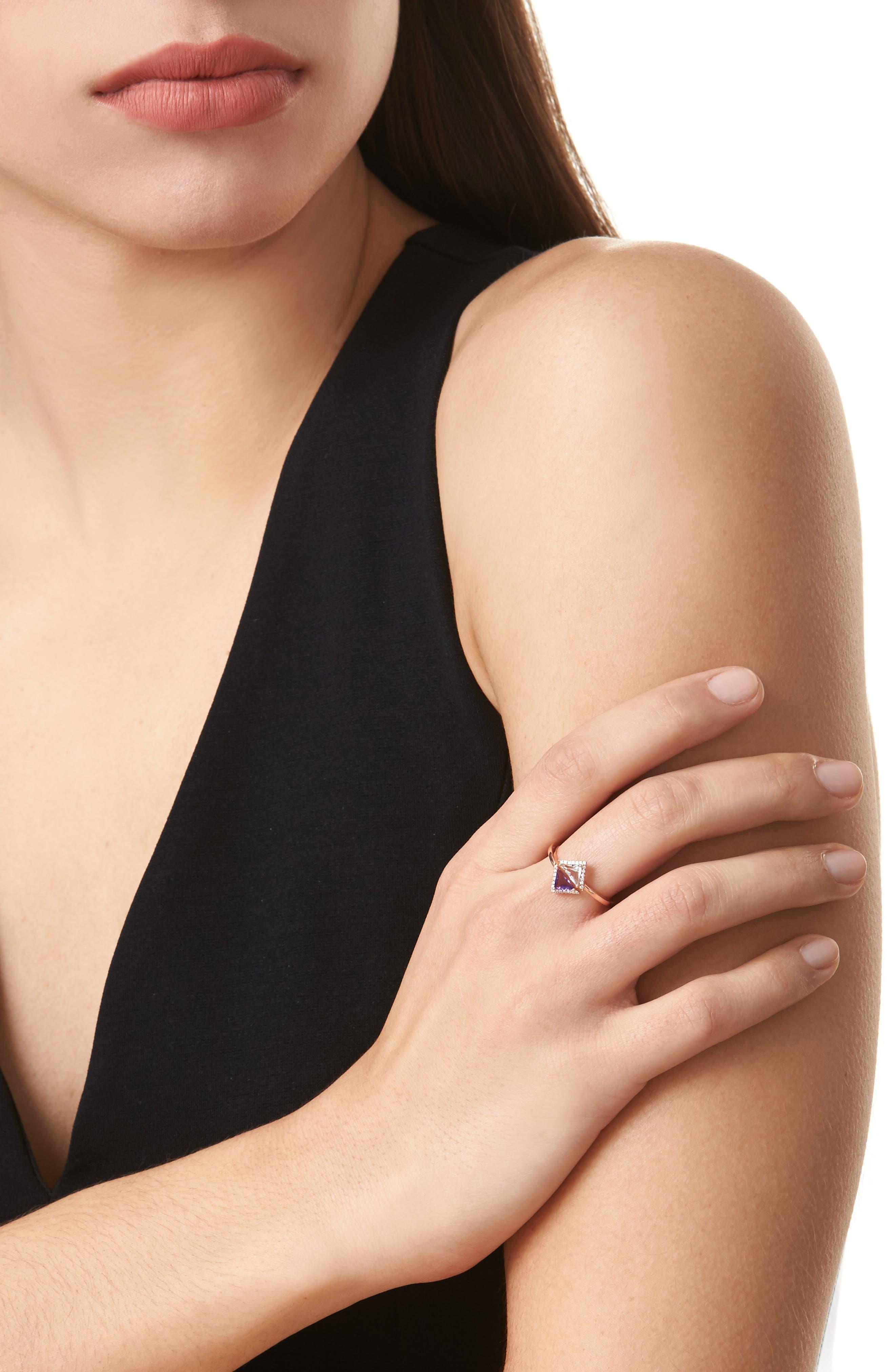 Iris Double Triangle Diamond & Semiprecious Stone Ring,                             Alternate thumbnail 2, color,                             White Topaz/ Amethyst