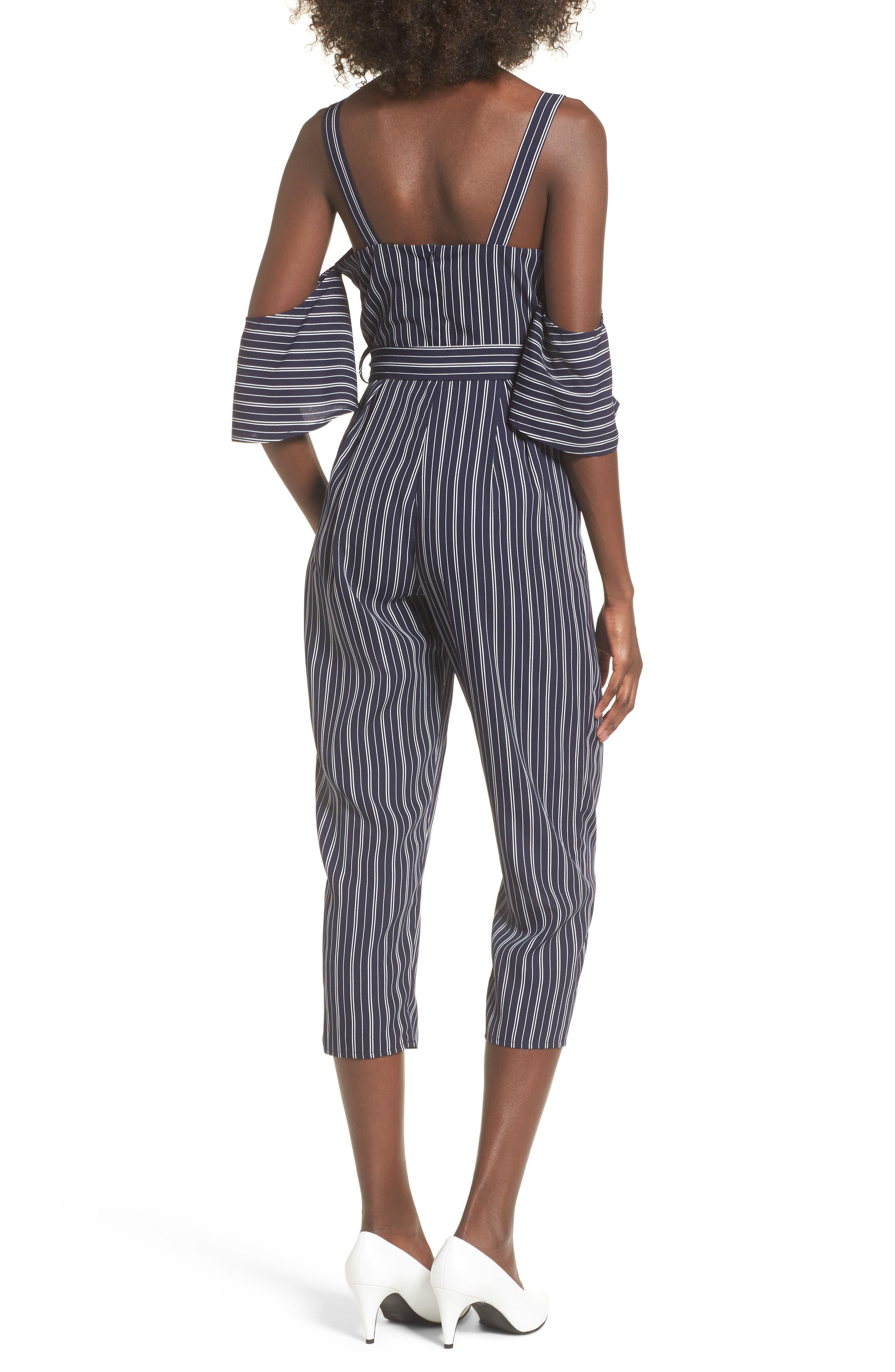 Stripe Off the Shoulder Crop Jumpsuit,                             Alternate thumbnail 2, color,                             Navy Ivory Stripe