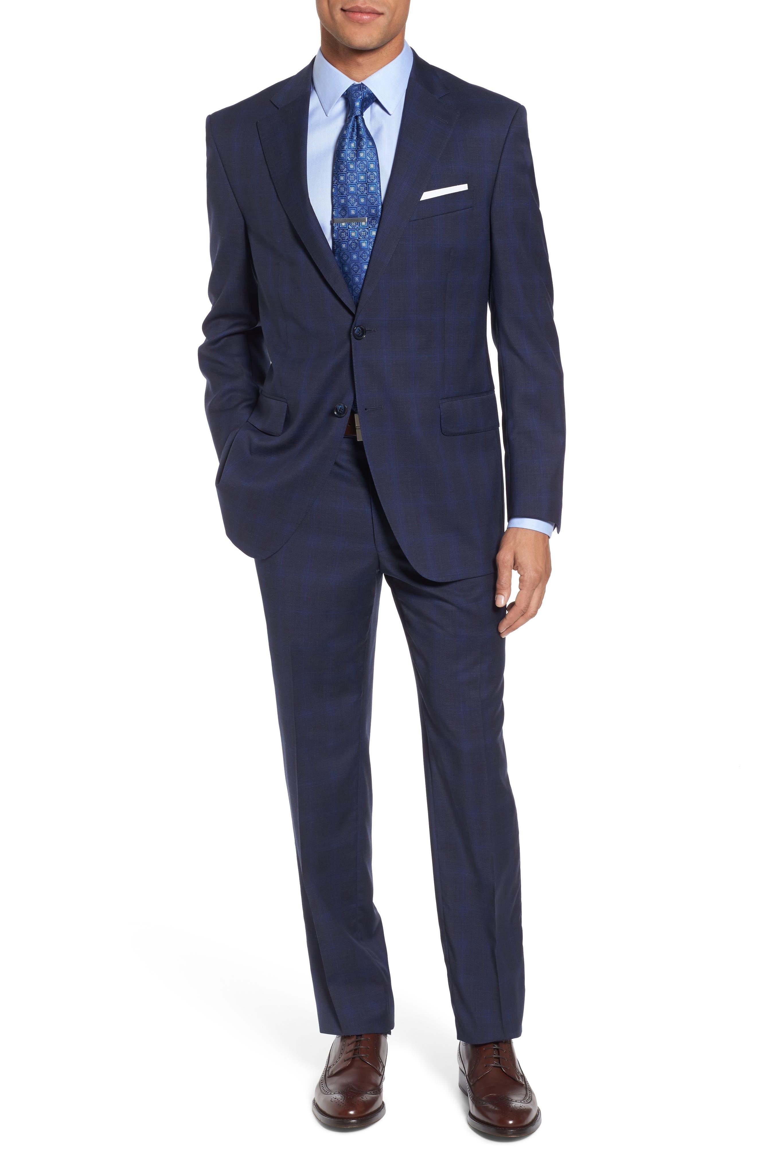 Classic Fit Plaid Wool Suit,                         Main,                         color, Navy