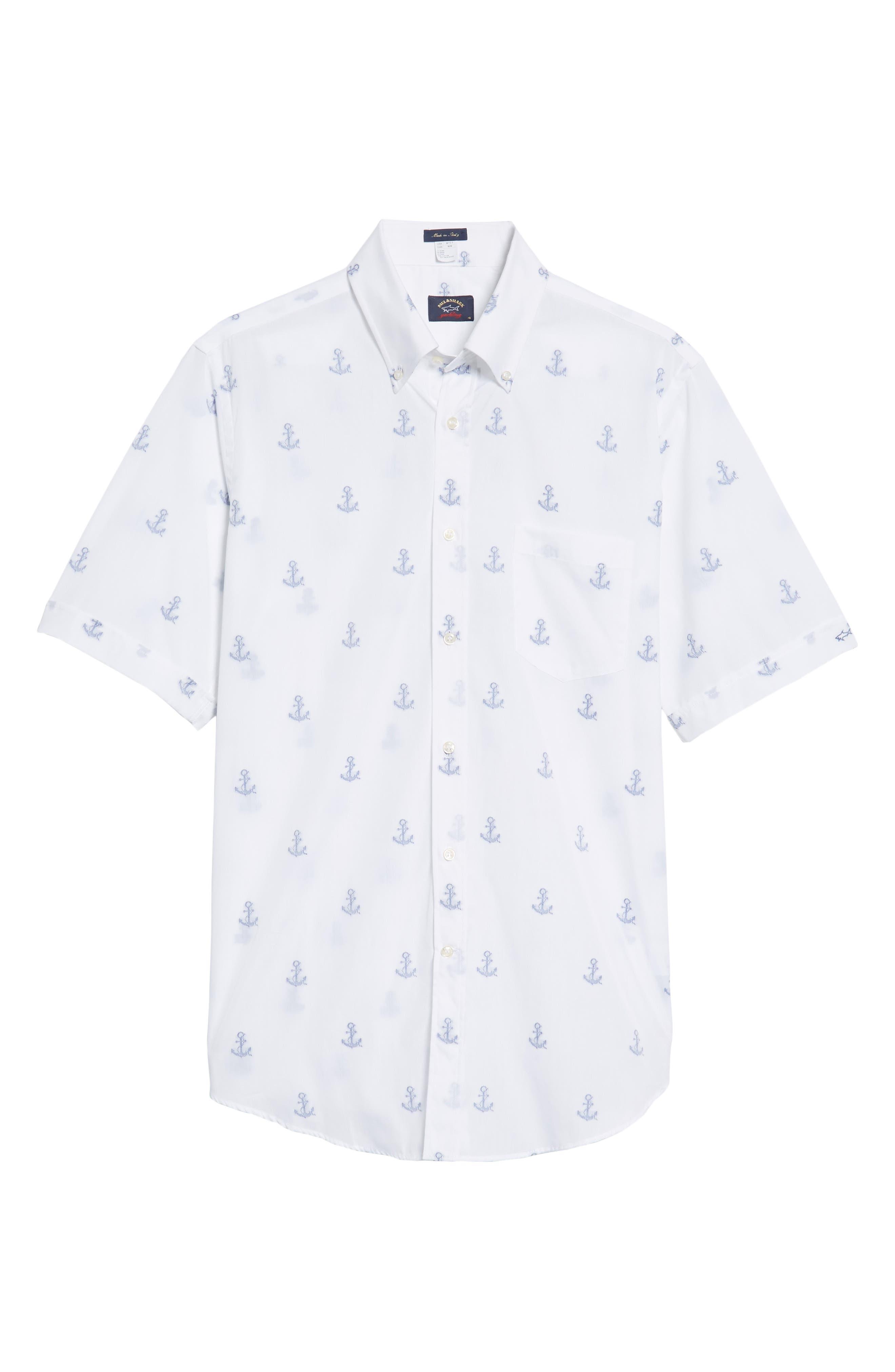 Paul&Shark Regular Fit Anchor Sport Shirt,                             Alternate thumbnail 6, color,                             White